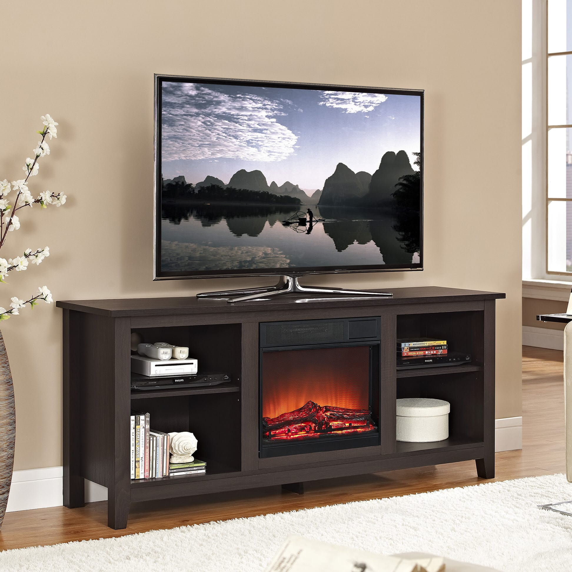 Sterling 56 inch tv stand with electric fireplace walnut 23im0468 w502 - 24069 W58fp18estvs 700610 F4522 Tv027 700645 700619 700617 Essential 58 Inch Fireplace Tv