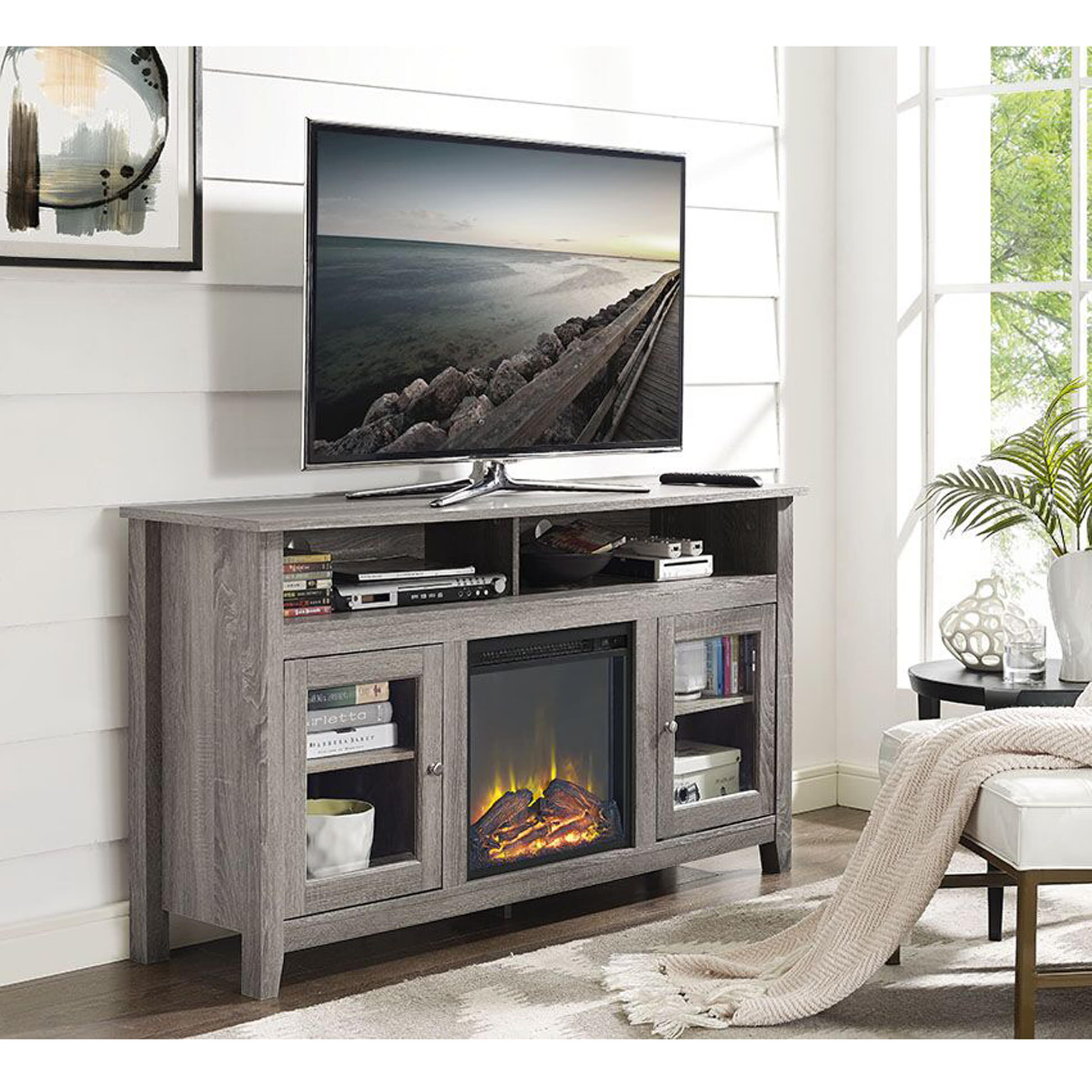 Wasatch 58 Inch Highboy Fireplace TV Stand Driftwood by