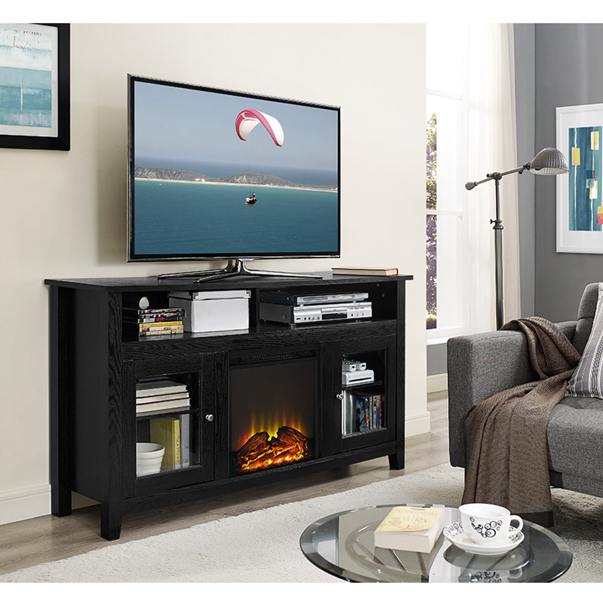 Wasatch 58 Highboy Fireplace TV Stand - Black by Walker Edison Create a warm