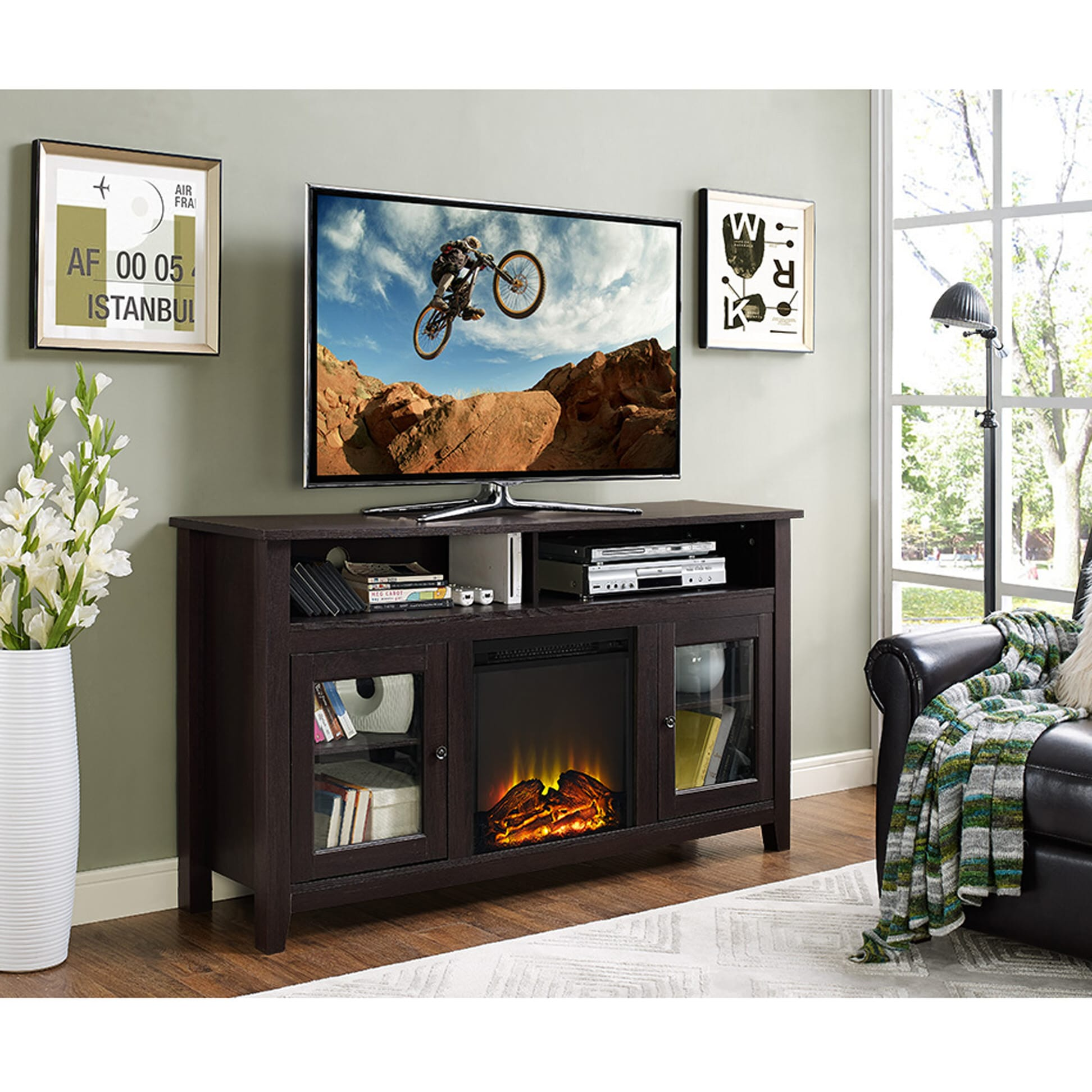 Wasatch 58 Inch Highboy Fireplace Tv Stand Espresso By