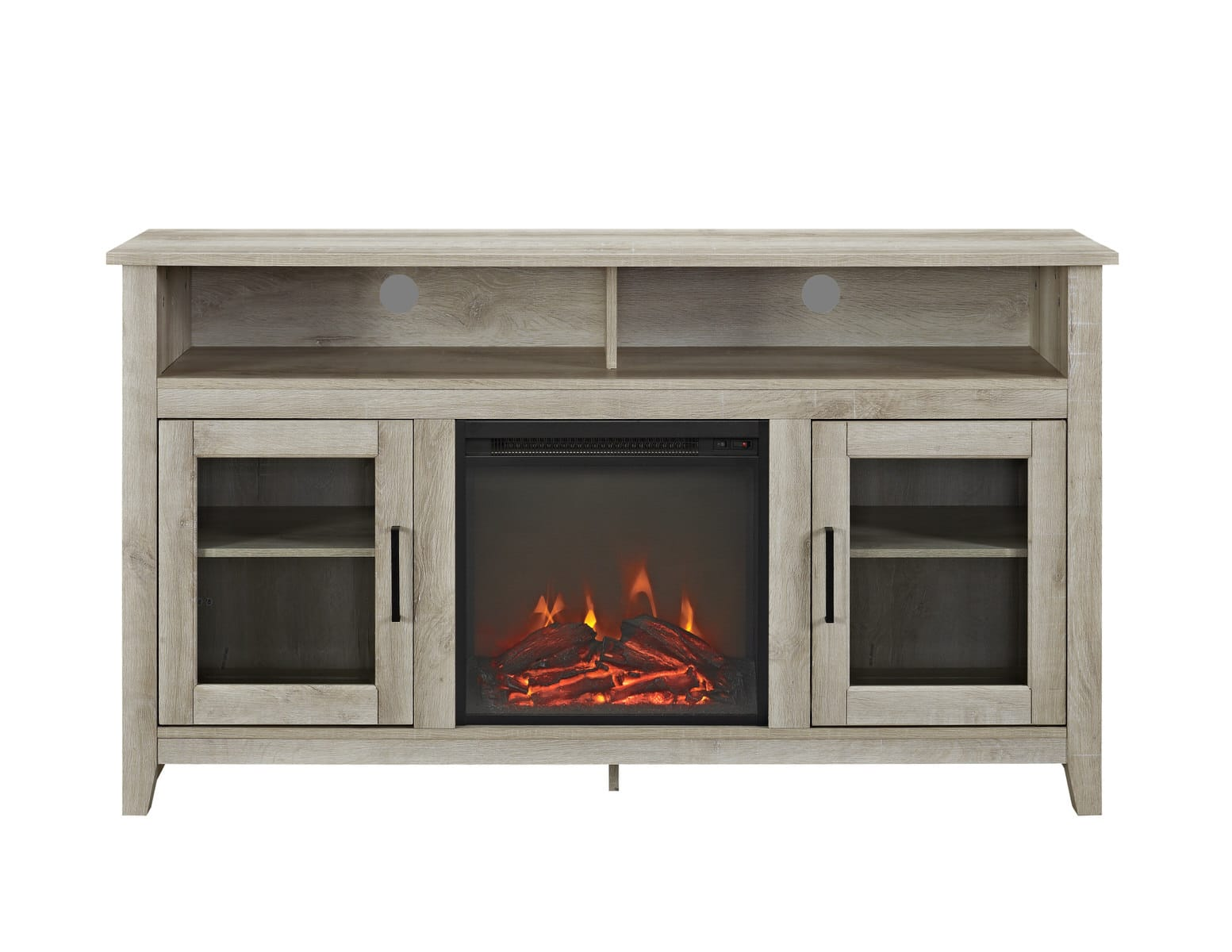 Highboy 58 Inch Wood Fireplace Media TV Stand Console   White Oak By Walker  Edison