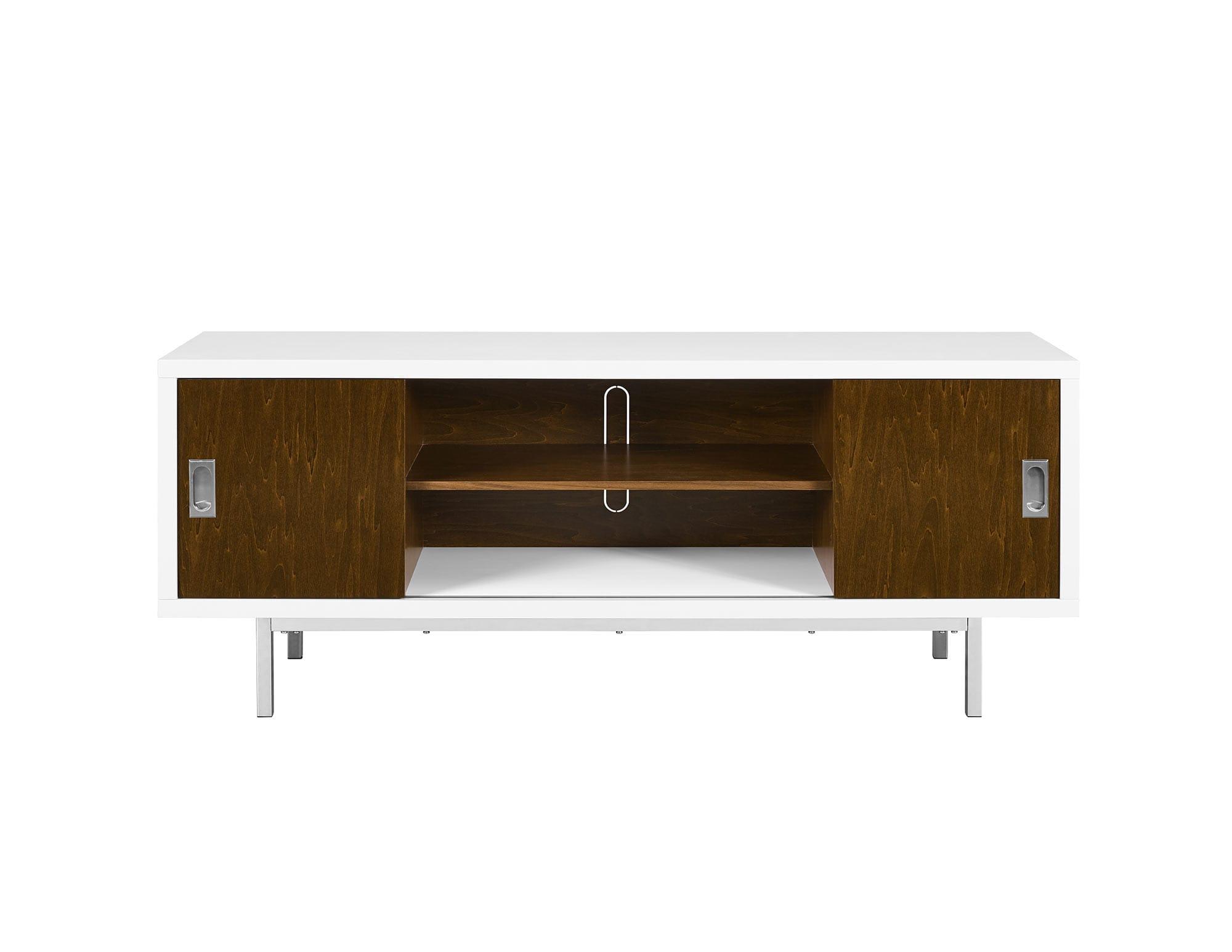 Manhattan 60 Inch Wood TV Console w/ Center Shelves - White/Walnut by  Walker Edison