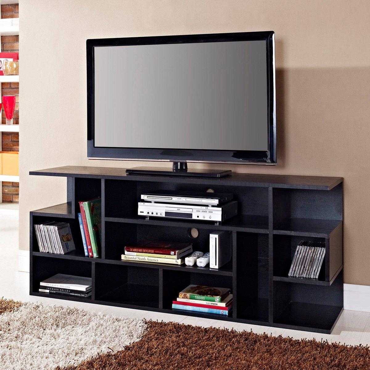 modstyle 60 inch tv console black by walker edison. Black Bedroom Furniture Sets. Home Design Ideas