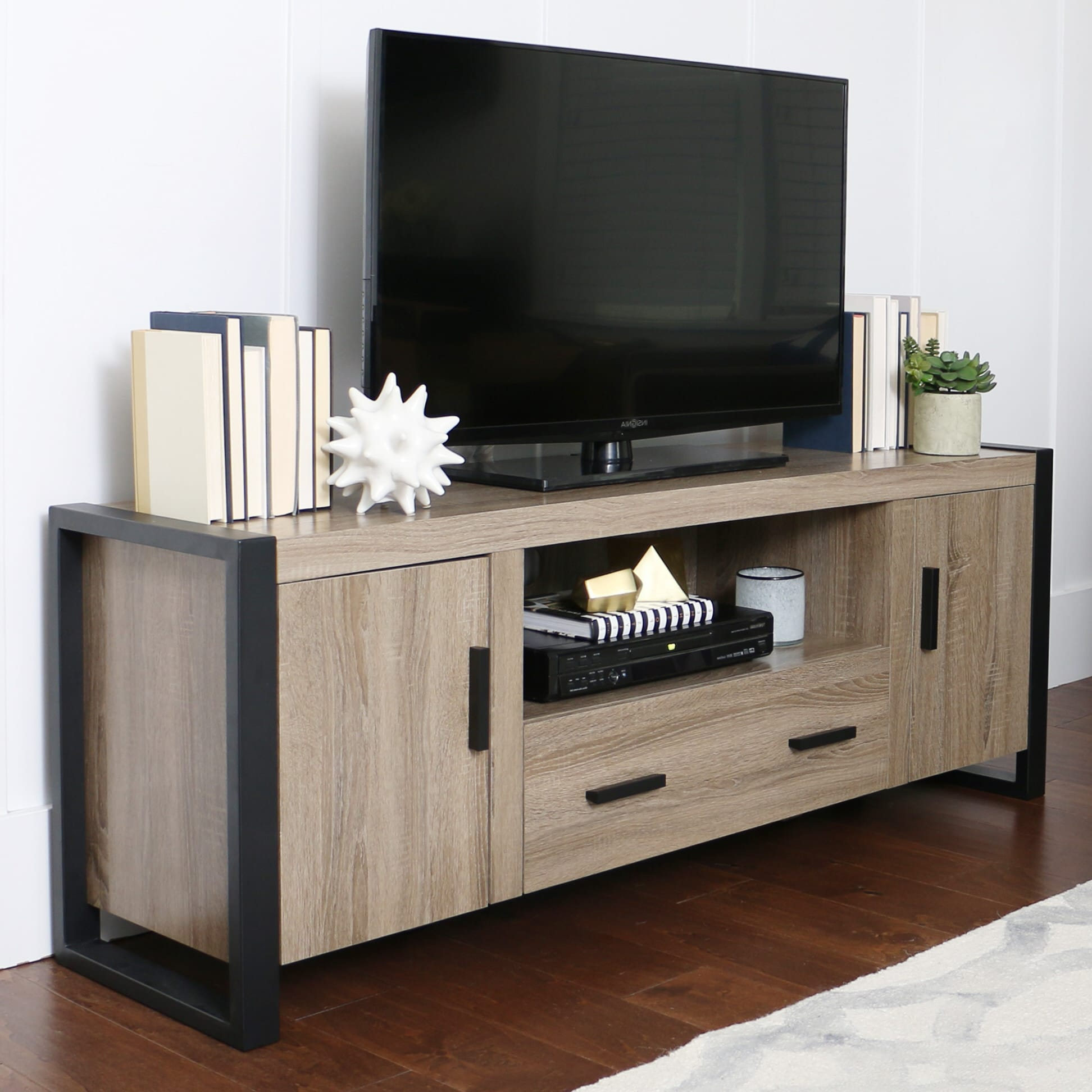 Urban Blend 60 Inch Tv Stand Ash Greyblack By Walker Edison