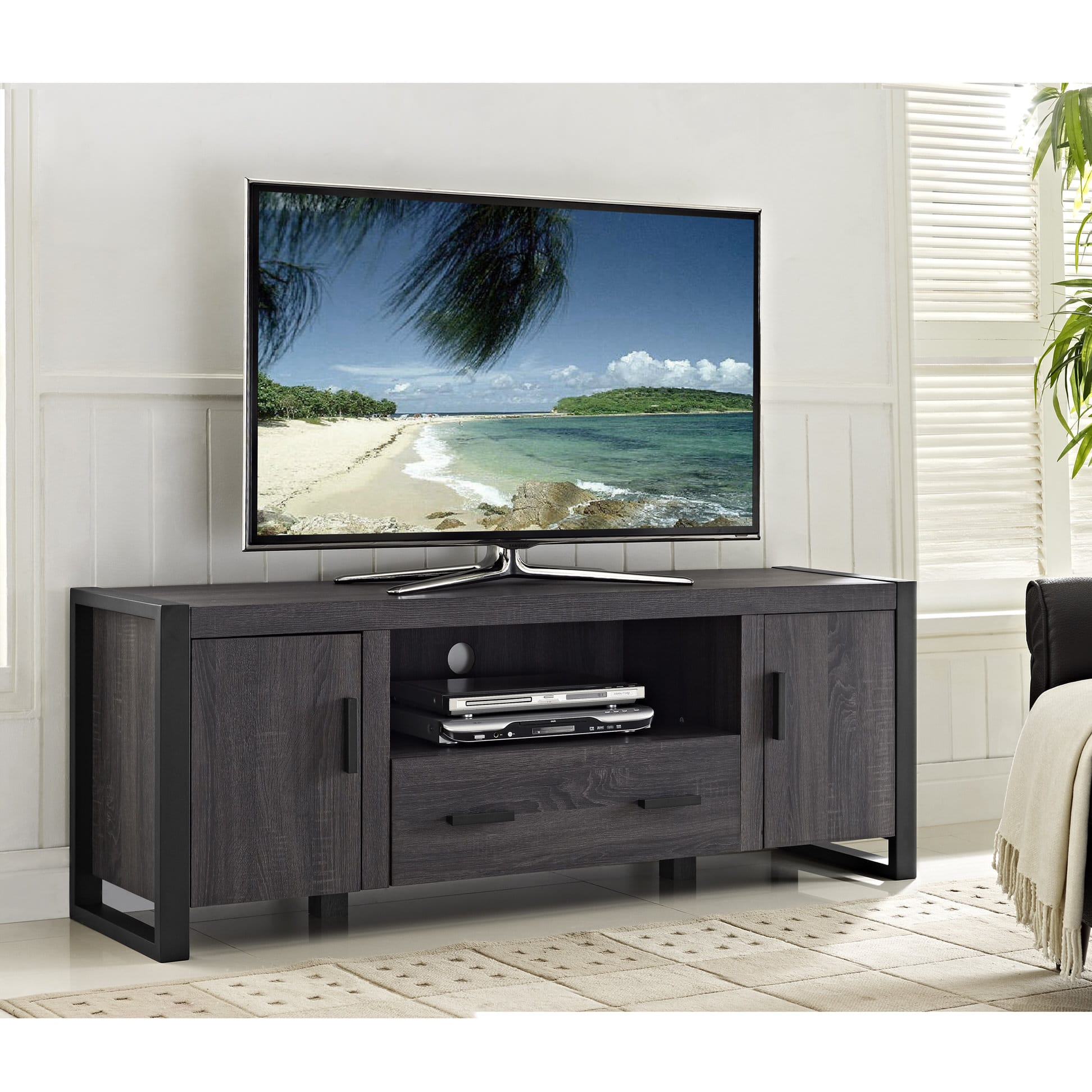 Urban Blend 60 Inch Tv Stand Charcoalblack By Walker Edison