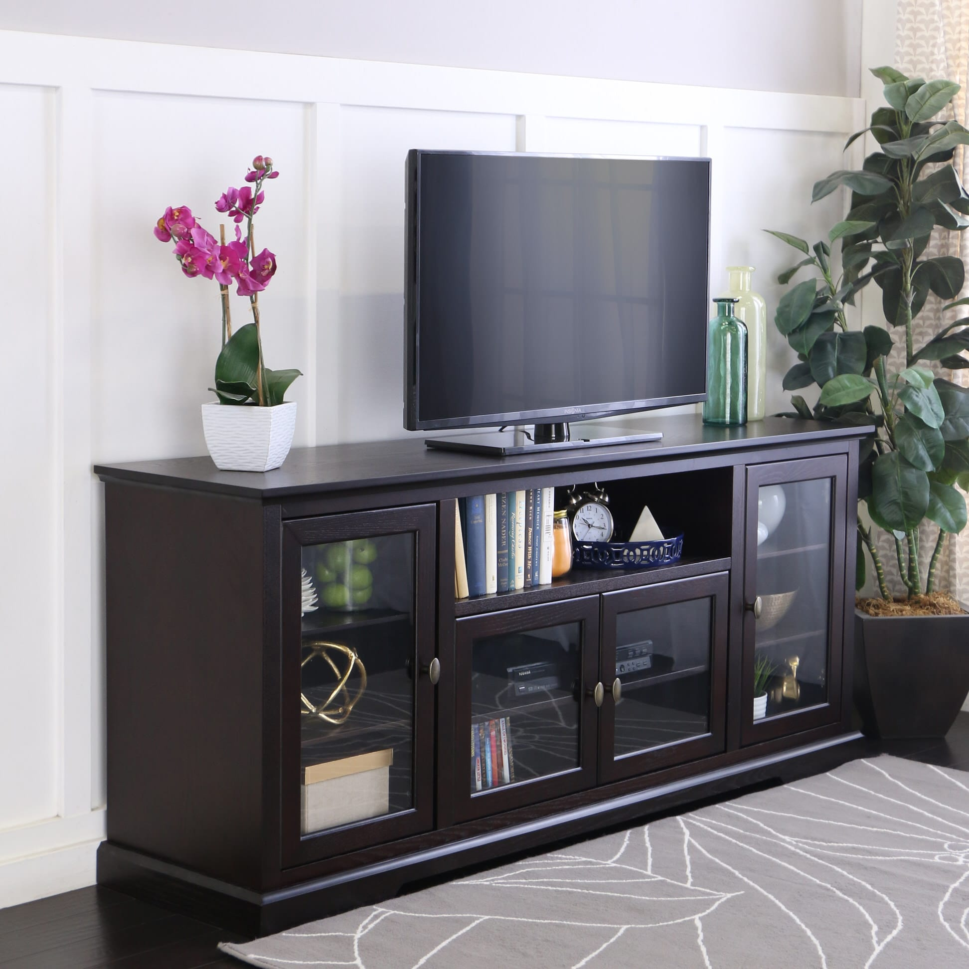 70 inch highboy style wood tv stand espresso by walker - Dresser as tv stand in living room ...