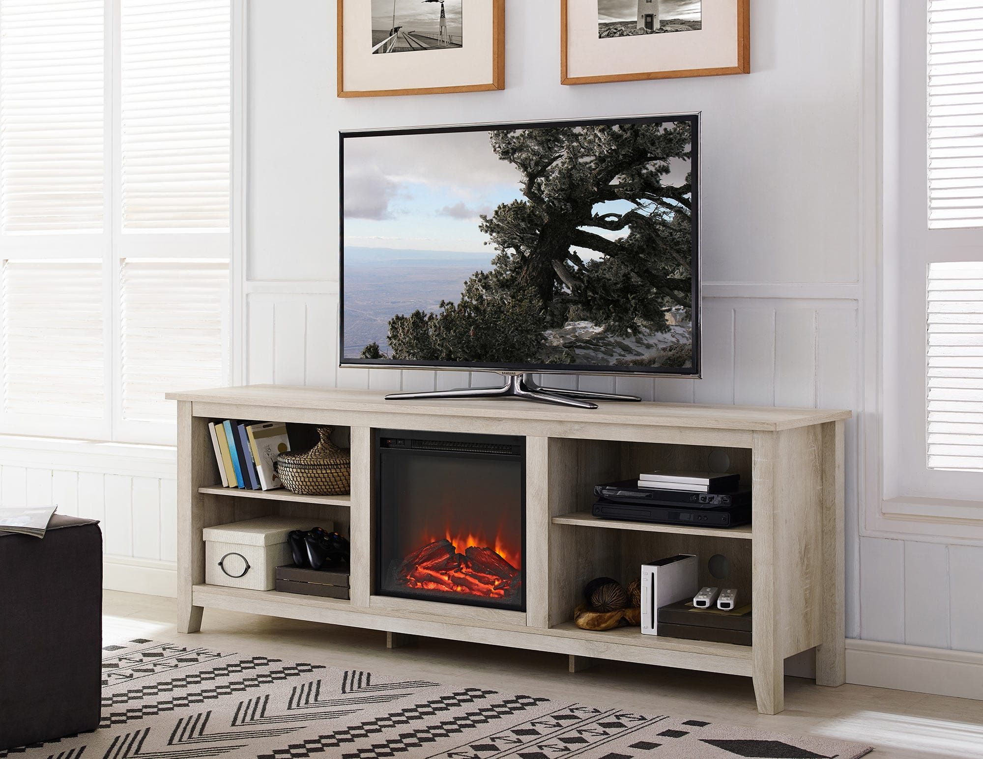 70 Inch Wood Media Tv Stand Console W Fireplace White Oak By Walker Edison