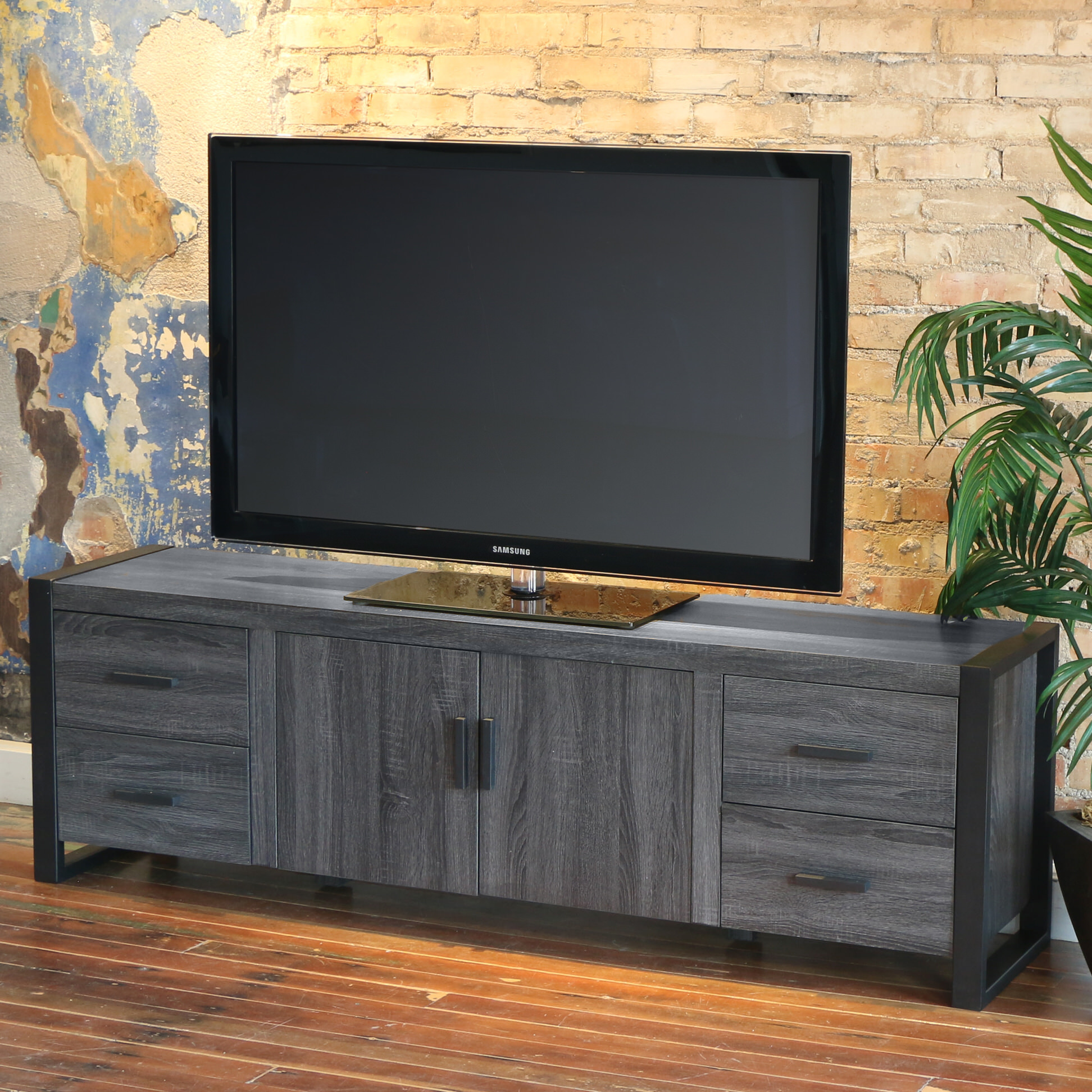 Urban Blend 70 Inch Tv Stand Charcoal Black By Walker Edison