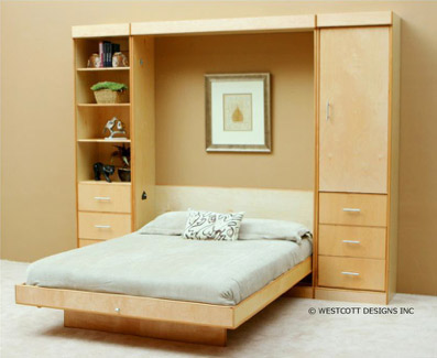 Modern Birch Vertical Wall Bed by Wallbeds