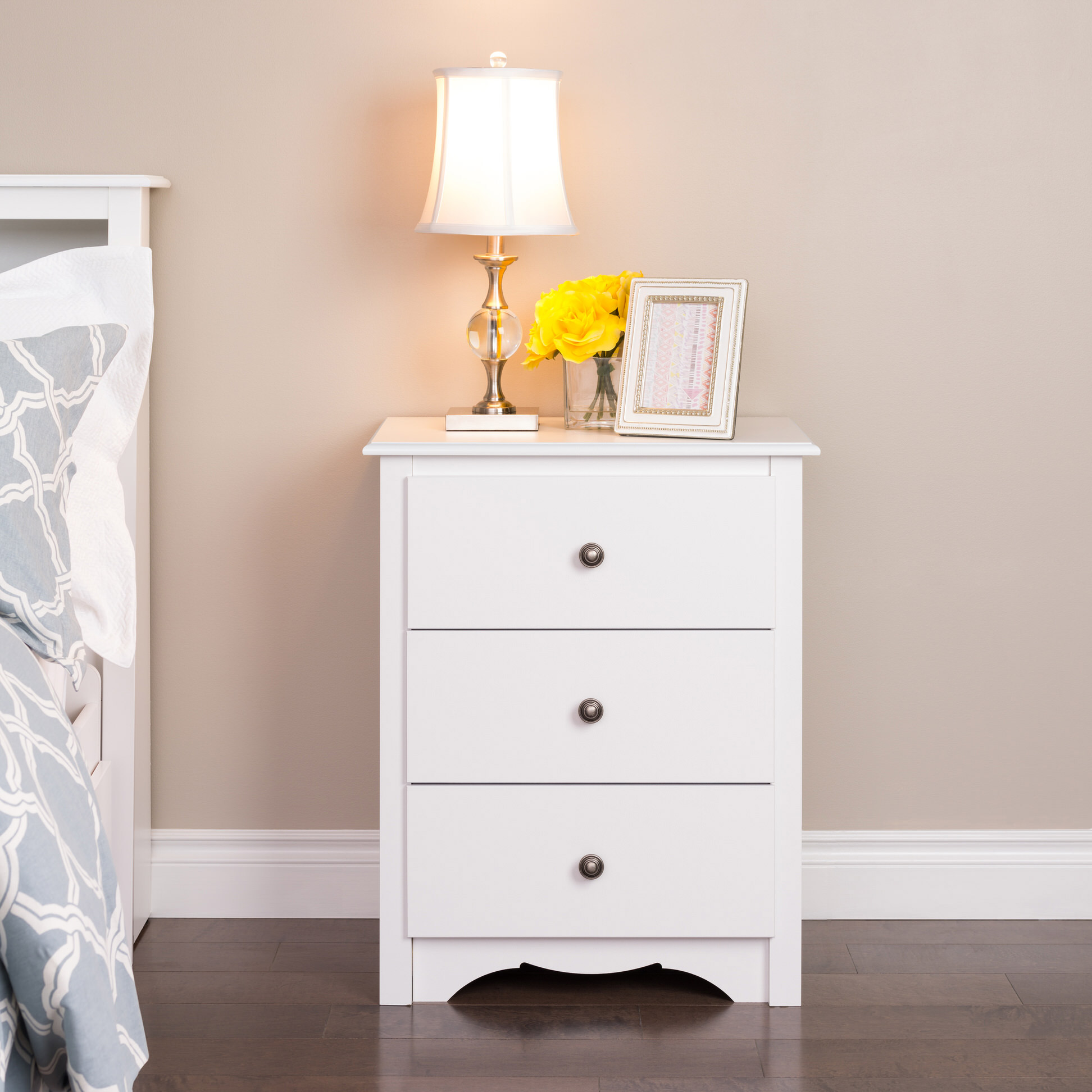 Monterey 3 drawer tall nightstand by prepac for Space saving nightstand
