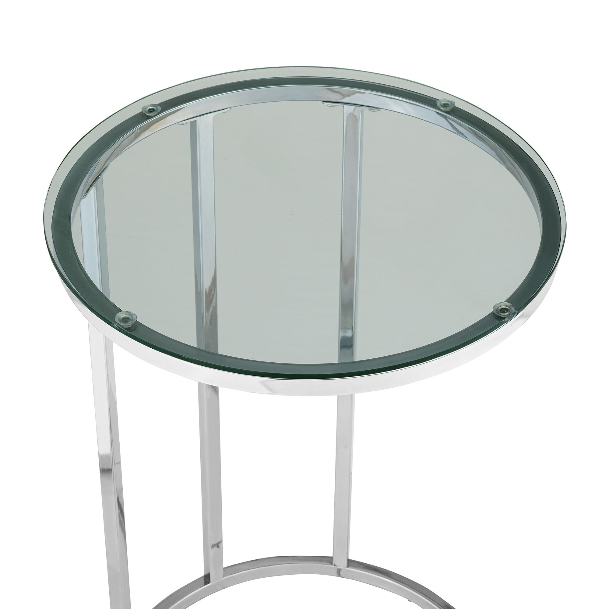 Picture of: Modern Round End Table Clear Glass Top Chrome Base By Walker Edison