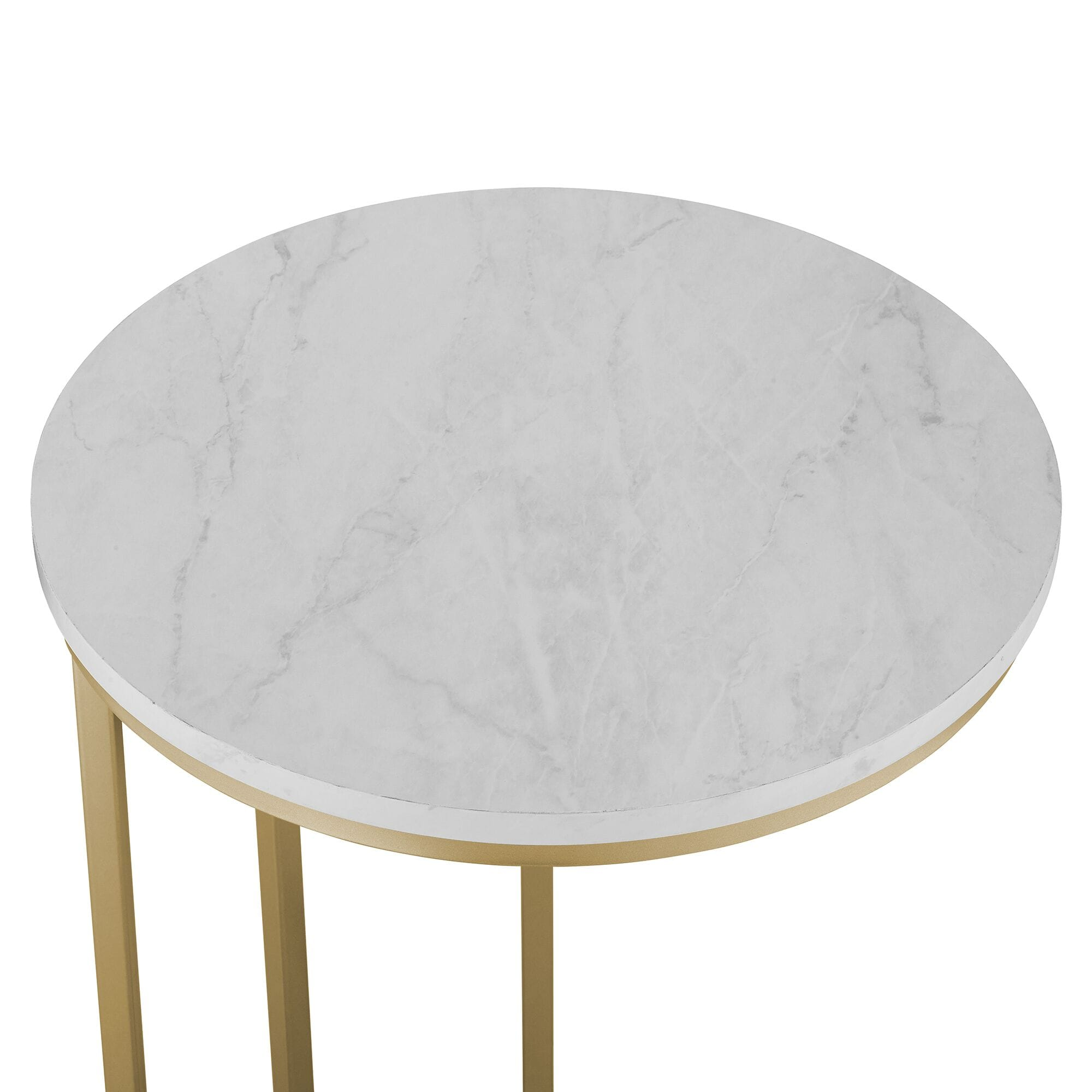 Picture of: Modern Round End Table White Marble Top Gold Base By Walker Edison