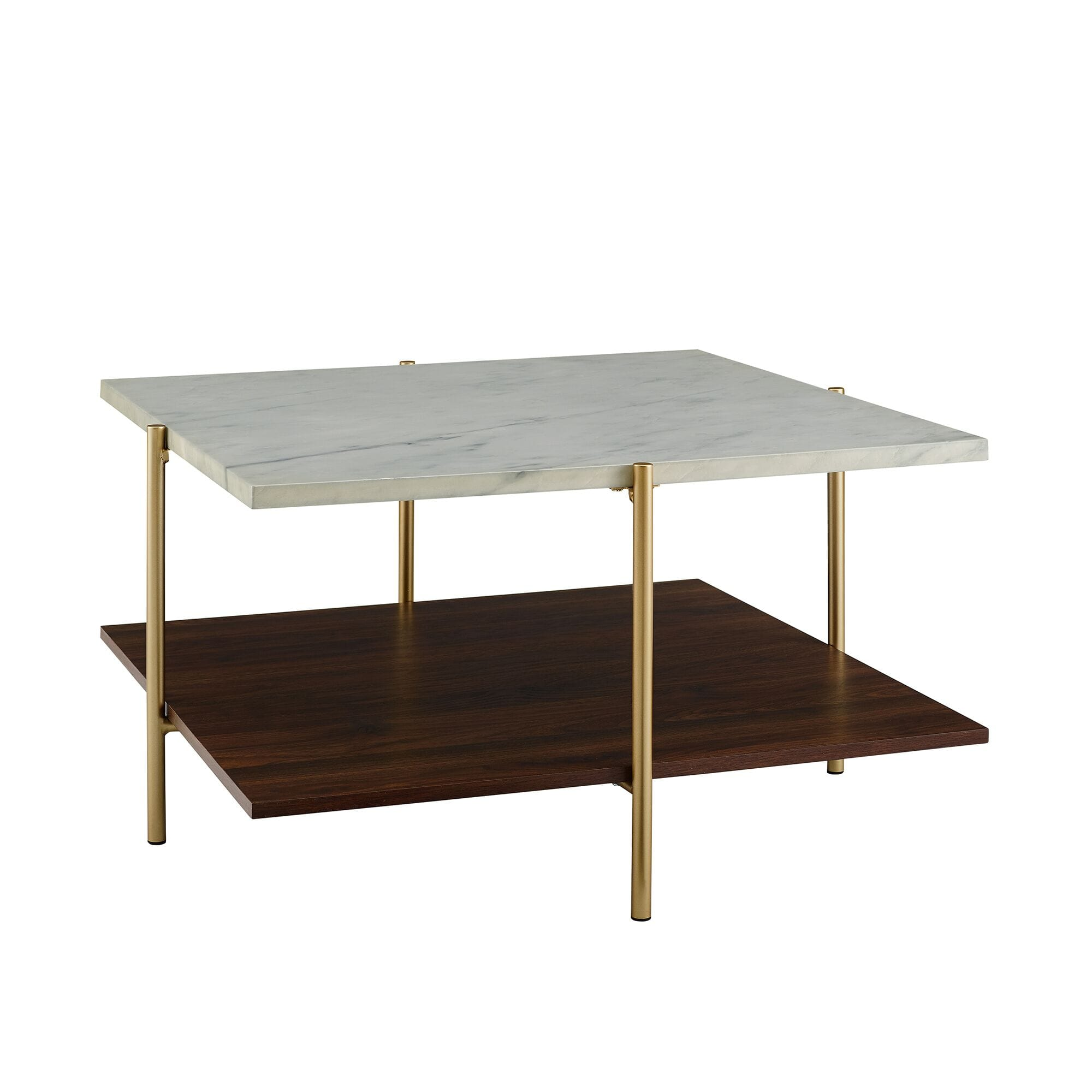 Mid Century Modern Square Coffee Table Marble Gold By