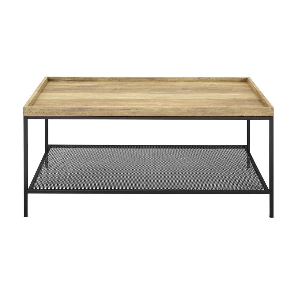 42 Inch Tray Coffee Table With Mesh Metal Shelf Rustic Oak By