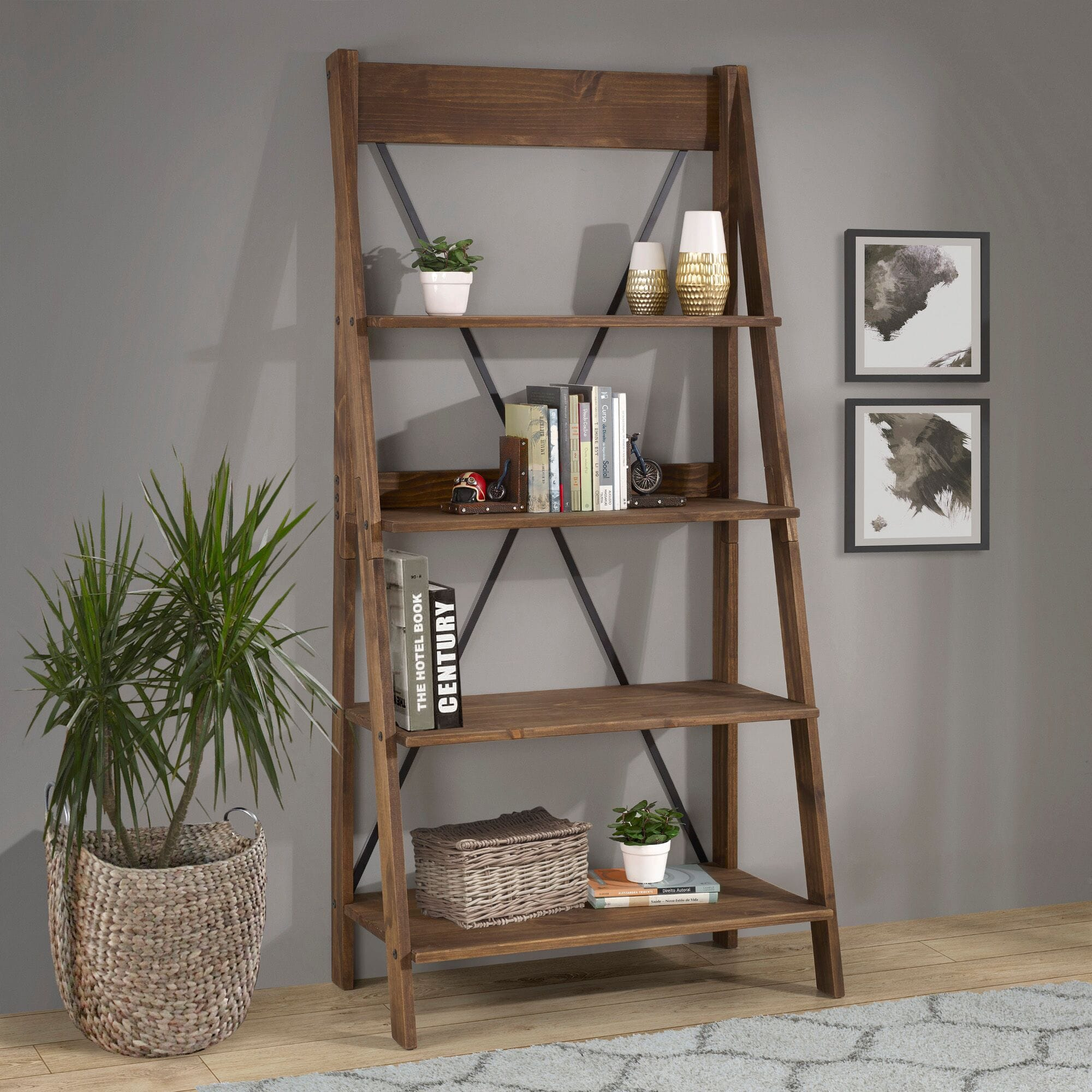 68 Inch Solid Wood Ladder Bookshelf Brown By Walker Edison