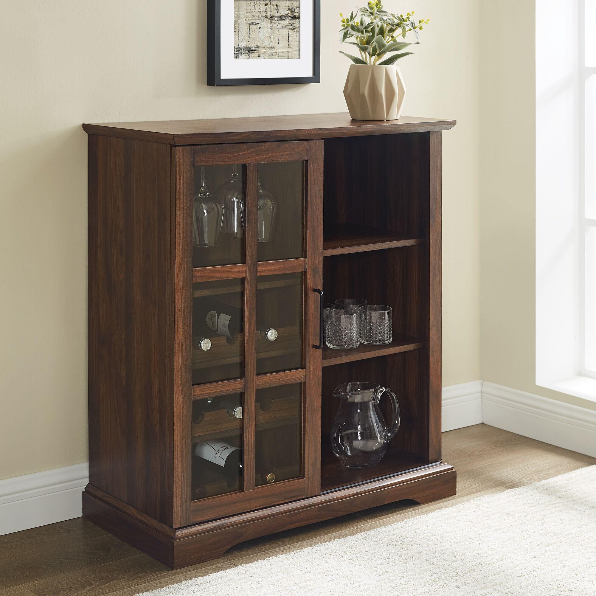 36 Inch Sliding Glass Door Bar Cabinet Dark Walnut By Walker Edison