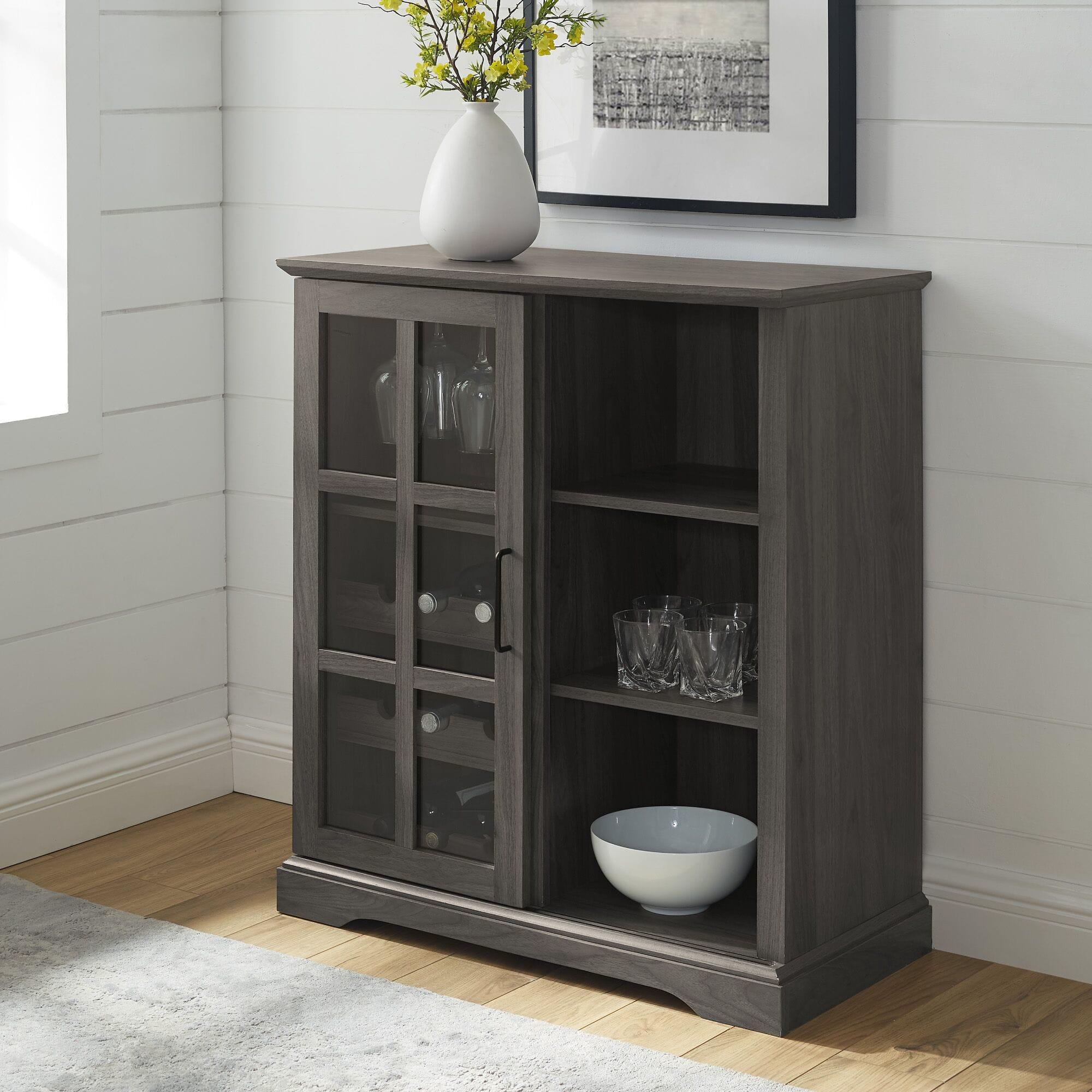 36 Inch Sliding Glass Door Bar Cabinet Slate Grey By Walker Edison
