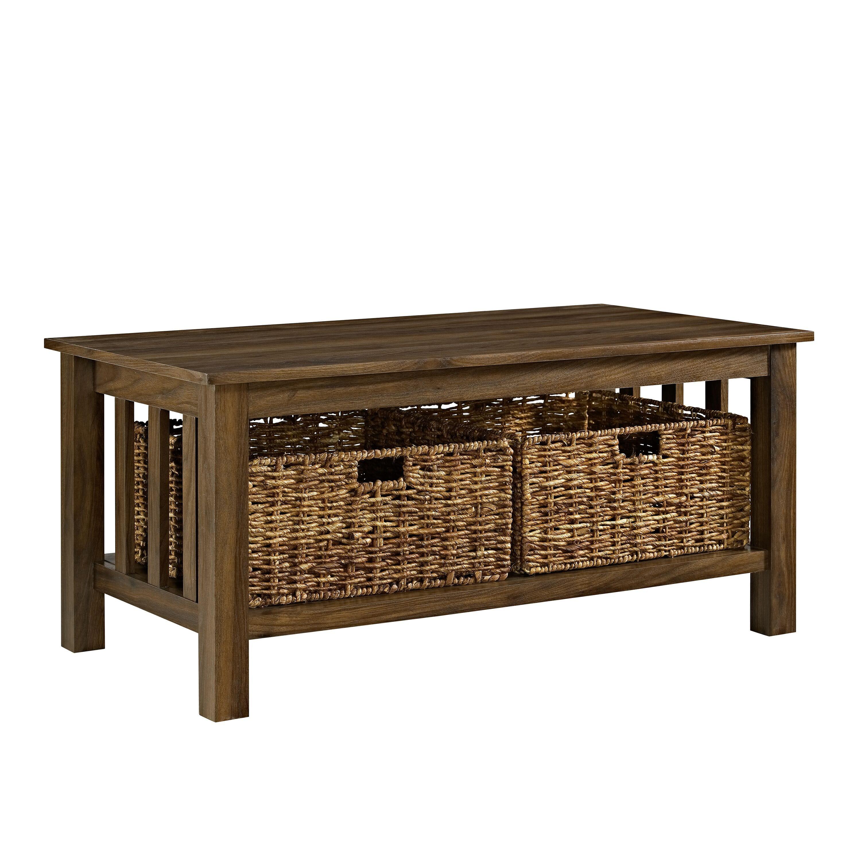 - Rustic Wood Coffee Table - Dark Walnut By Walker Edison