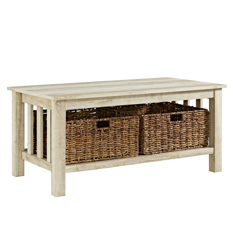Rustic Wood Coffee Table White Oak By Walker Edison