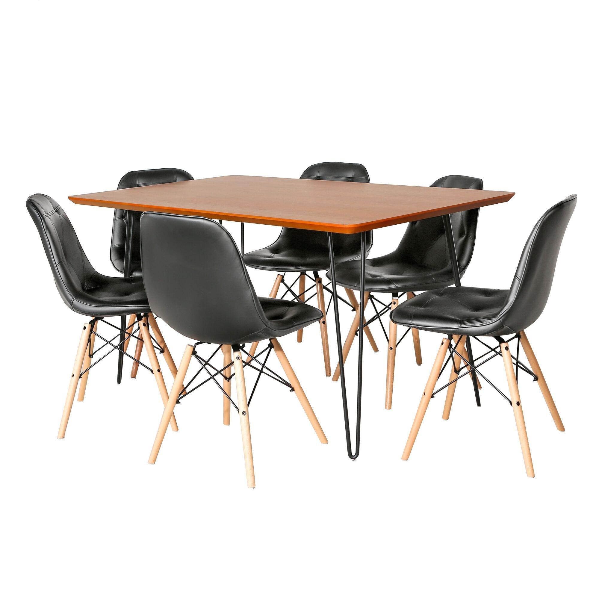 7 Piece Mid Century Modern Wood Dining Table Set Walnut Black By Walker Edison