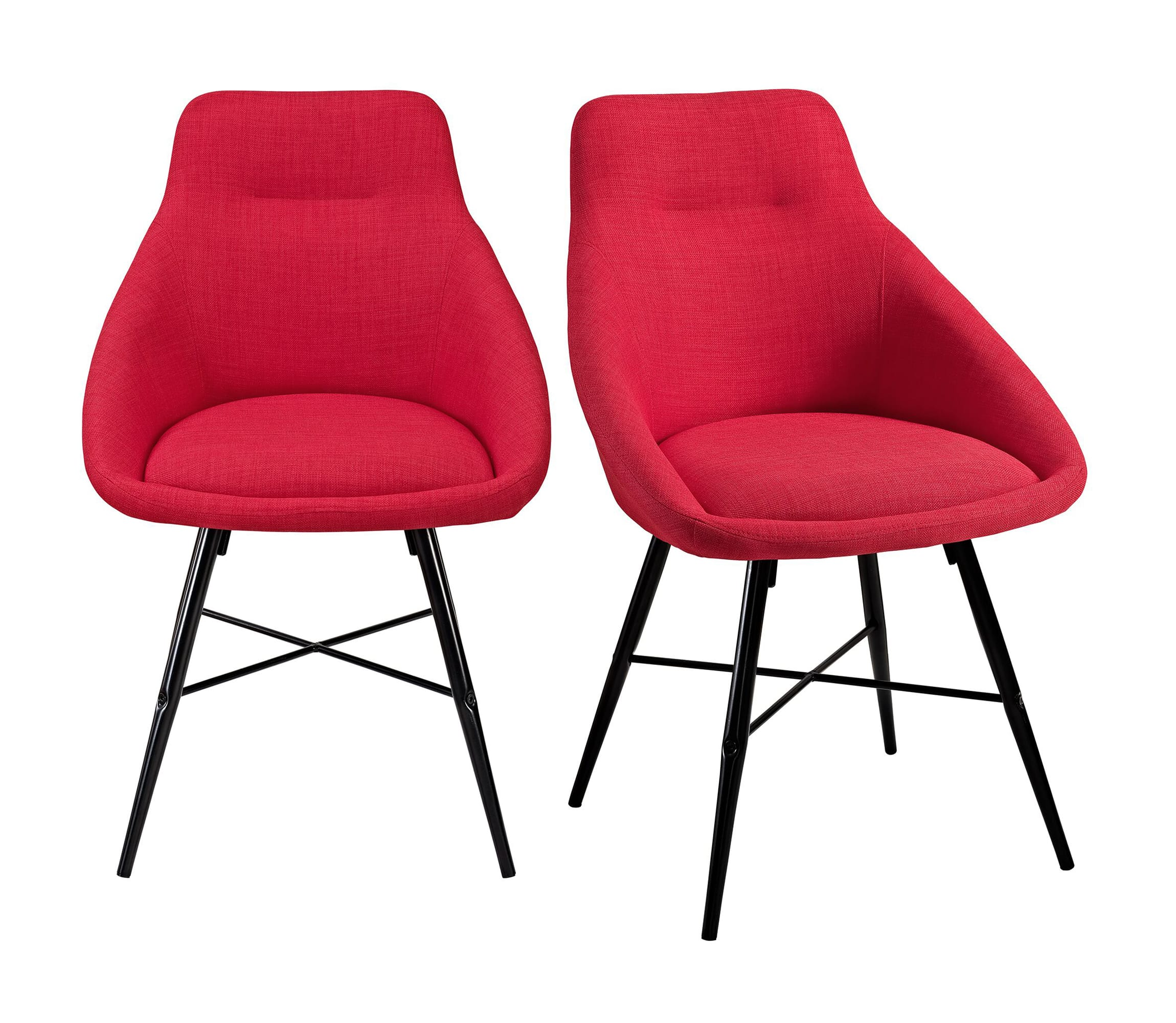 Picture of: Mid Century Modern Dining Chair Set Of 2 Red W Metal Legs By Walker Edison