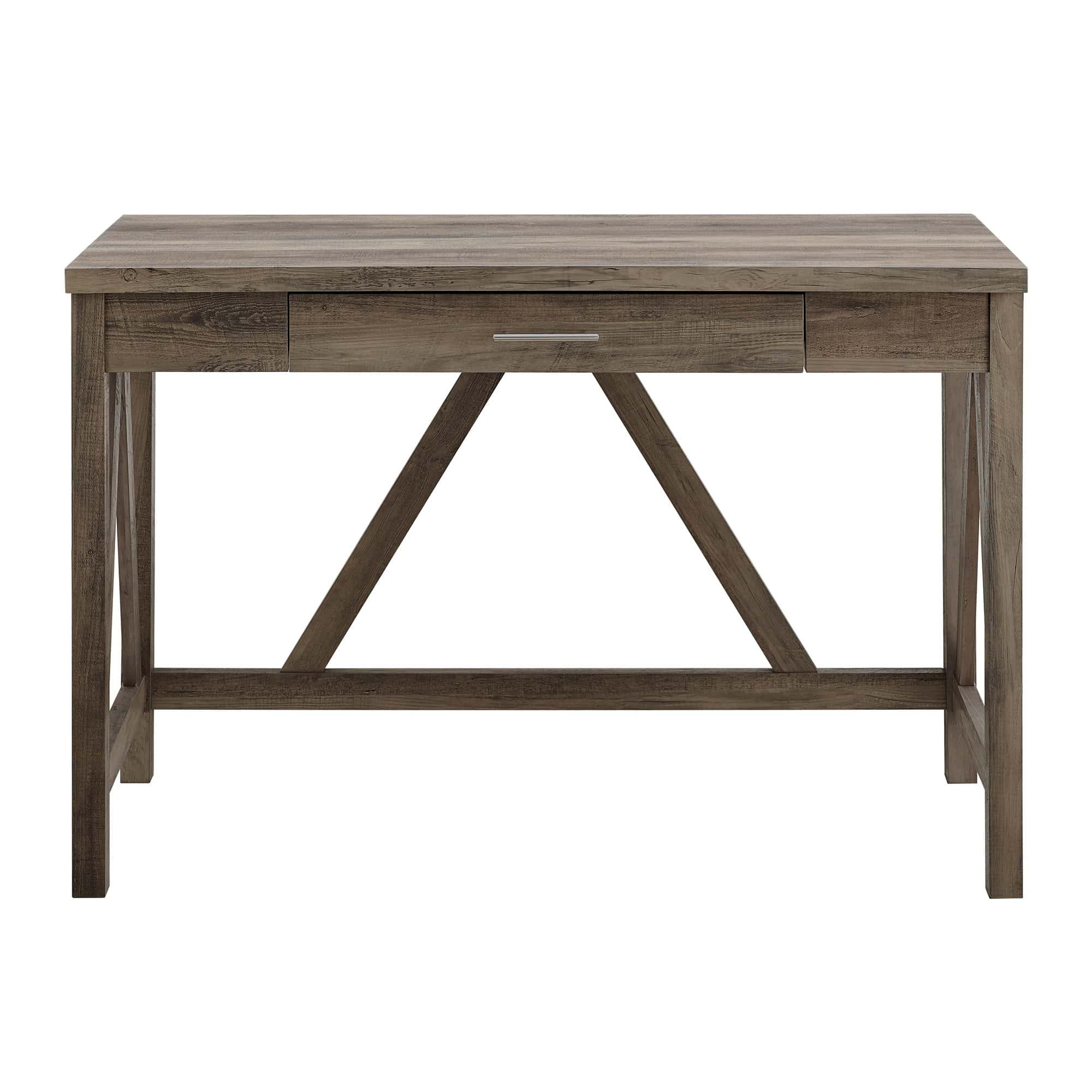 35 Inch Rustic Farmhouse Wood Computer Desk - Grey Wash by Walker Edison