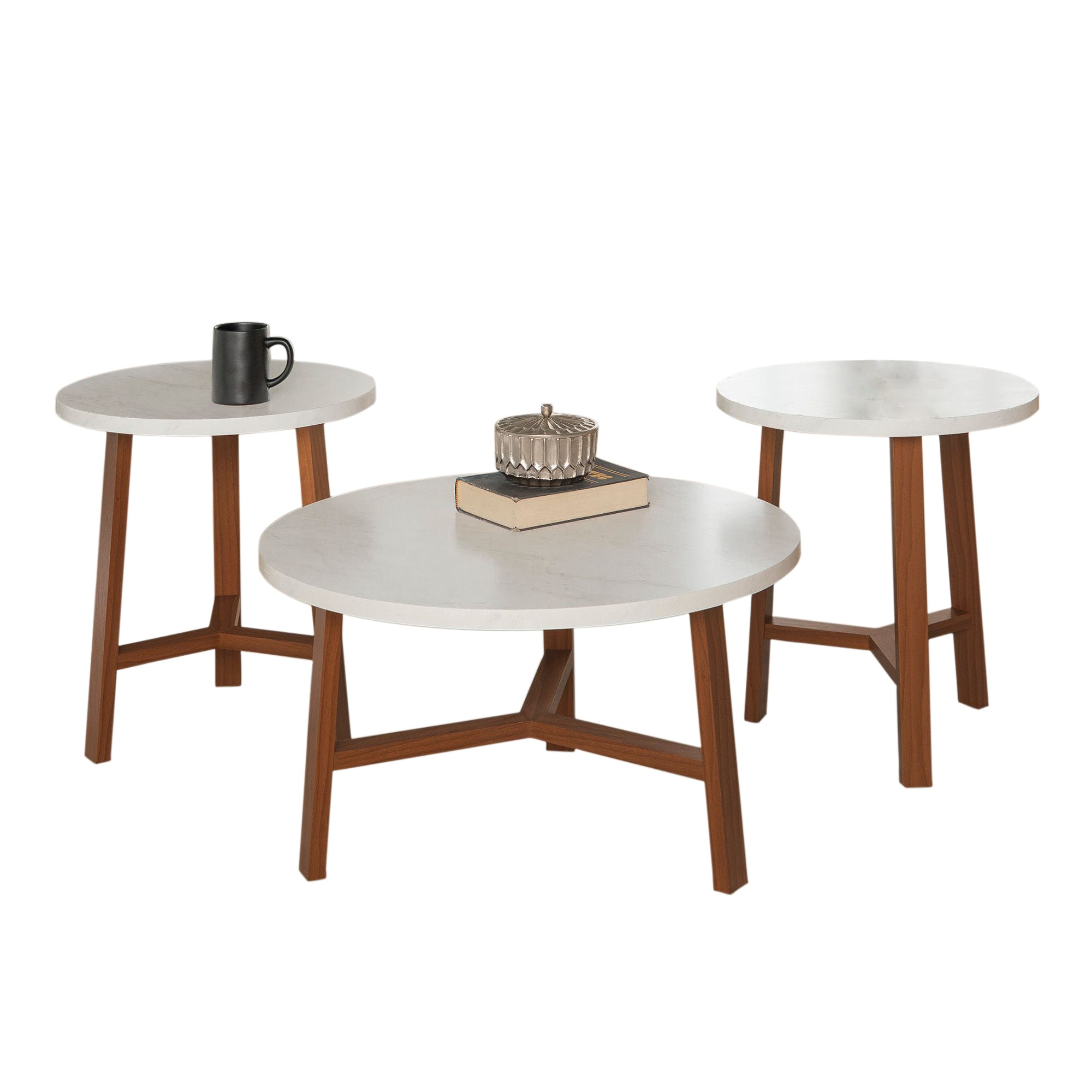 3 Piece Mid Century Modern Accent Table Set Faux White Marble Acorn By Walker Edison