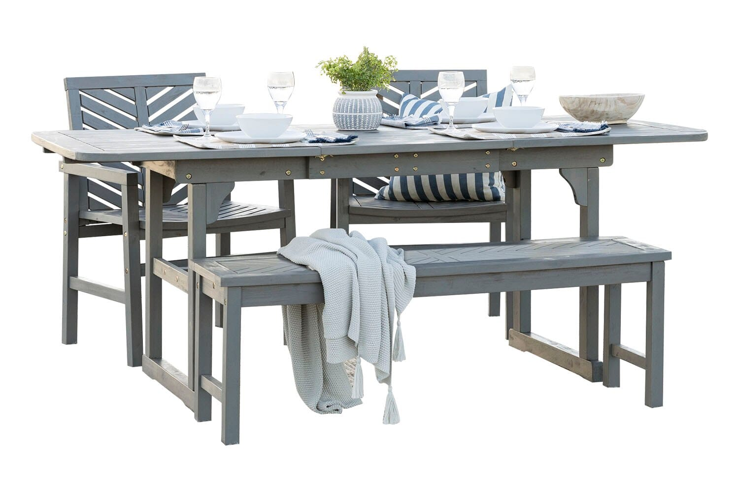 4 Piece Extendable Outdoor Patio Dining Set Grey Wash By Walker Edison