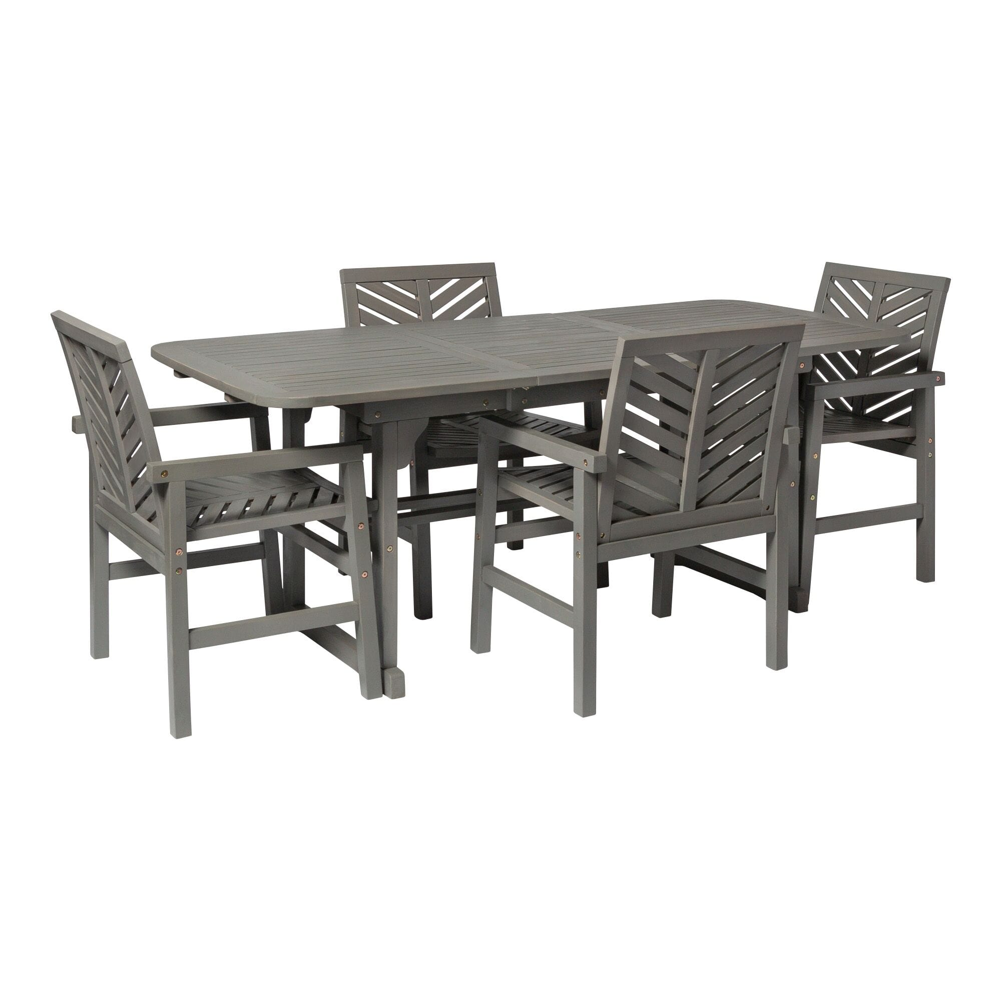 5 Piece Extendable Outdoor Patio Dining Set Grey Wash By Walker Edison
