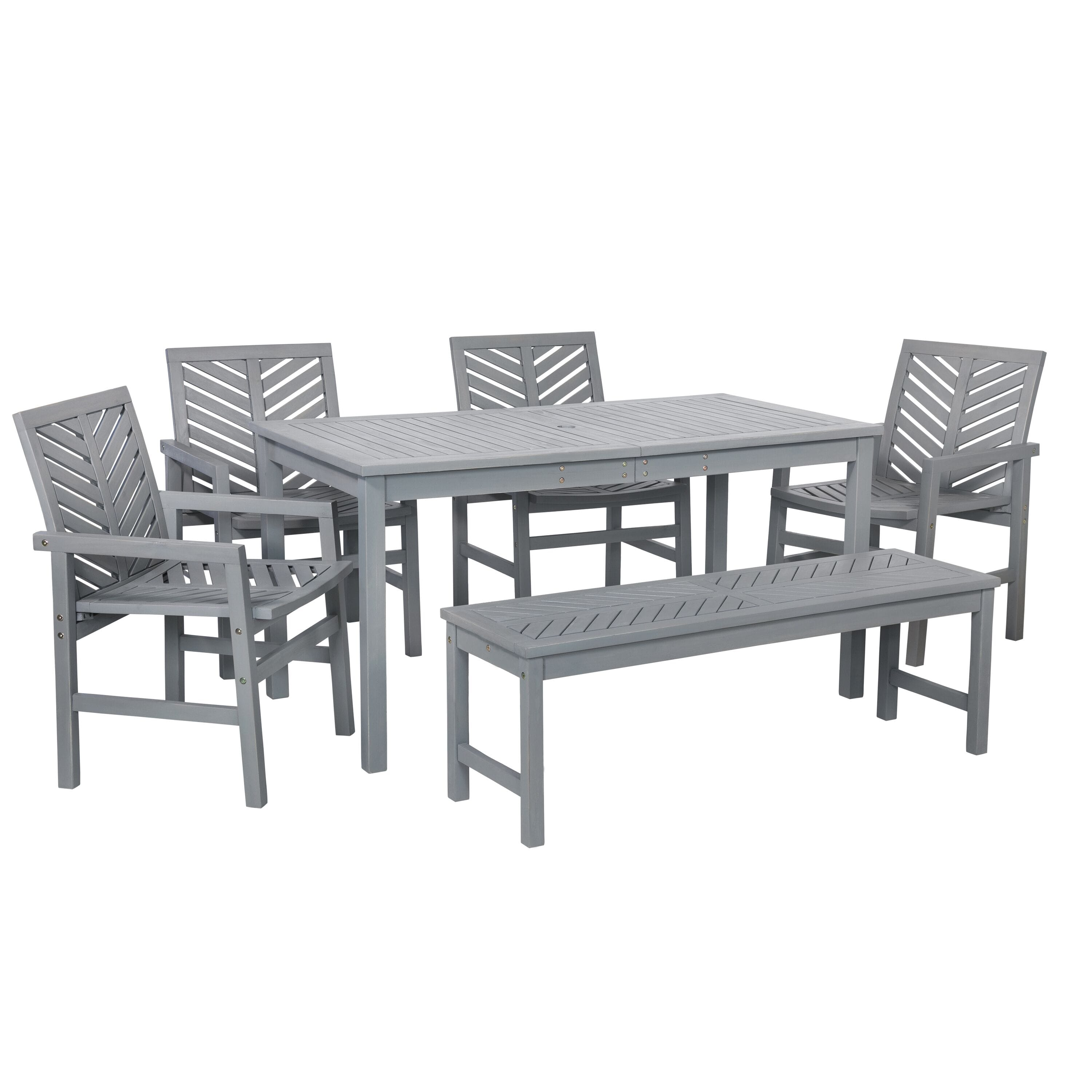 6 Piece Chevron Outdoor Patio Dining Set Grey Wash By Walker Edison