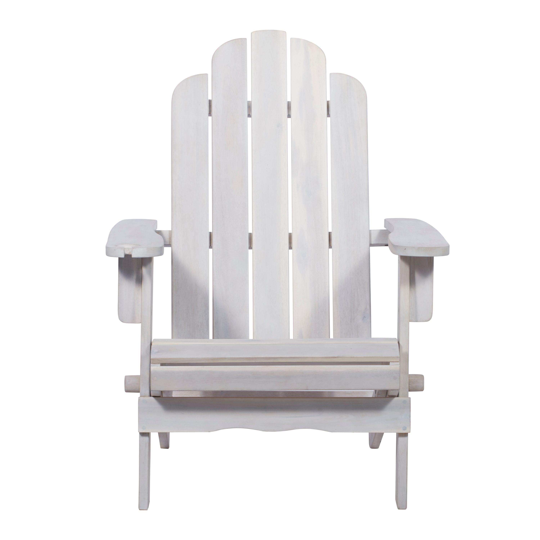 Heavy Duty Sun Lounger, Patio Wood Adirondack Chair White Wash By Walker Edison