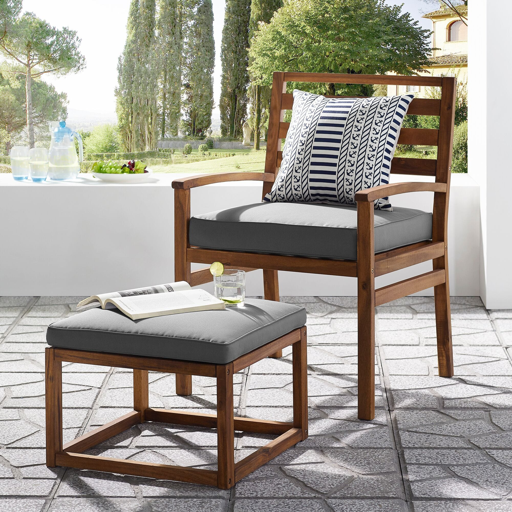 Picture of: Acacia Wood Outdoor Patio Chair Pull Out Ottoman Brown Grey By Walker Edison