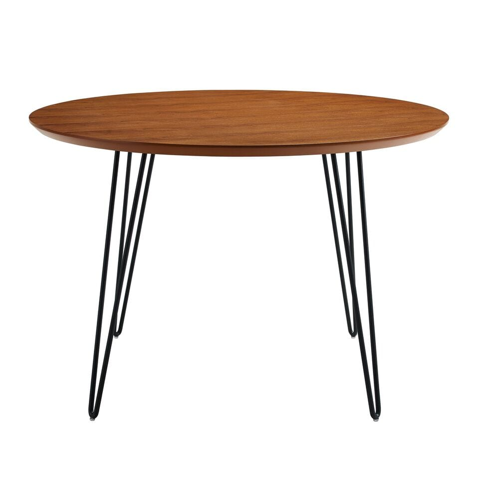 46 Inch Mid Century Modern Round Dining Table Walnut By Walker Edison