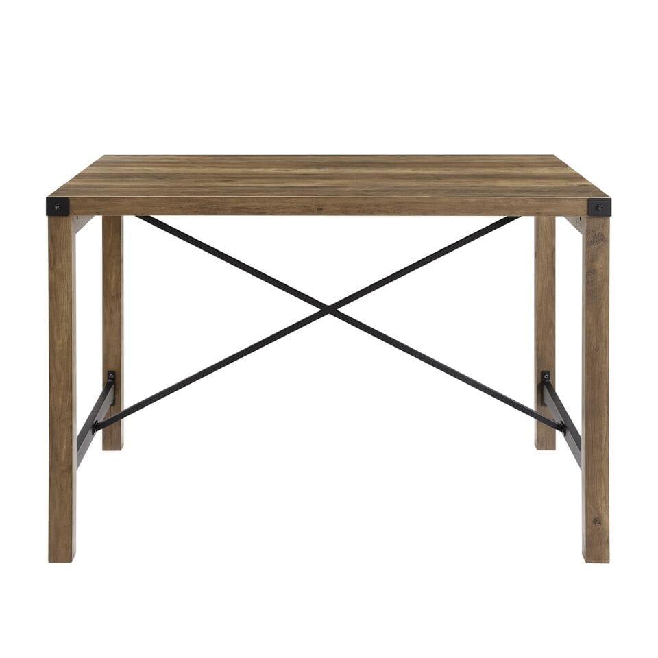 48 Inch Industrial Farmhouse Dining Table Rustic Oak By Walker Edison