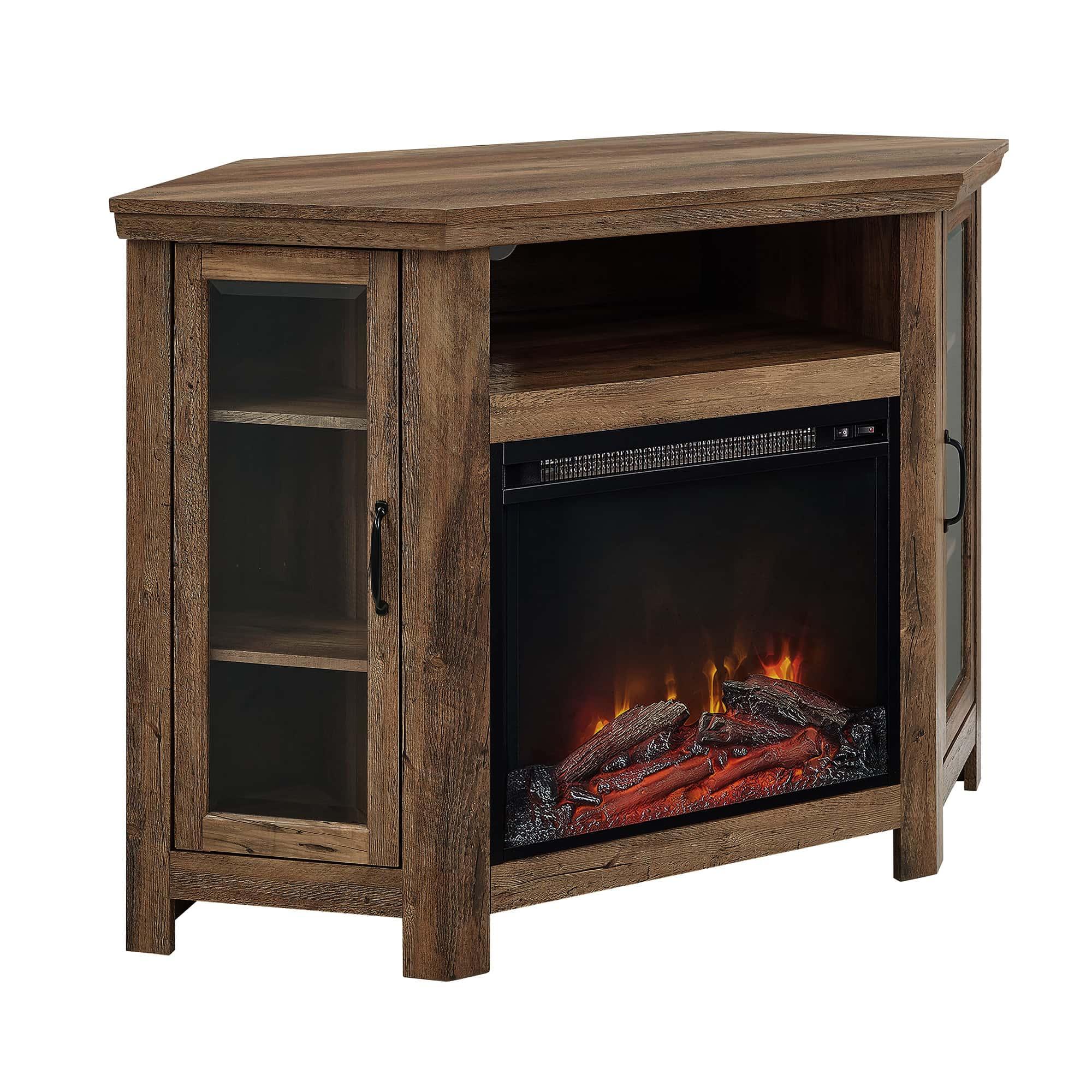 48 Inch Wood Corner Fireplace Tv Stand Rustic Oak By Walker