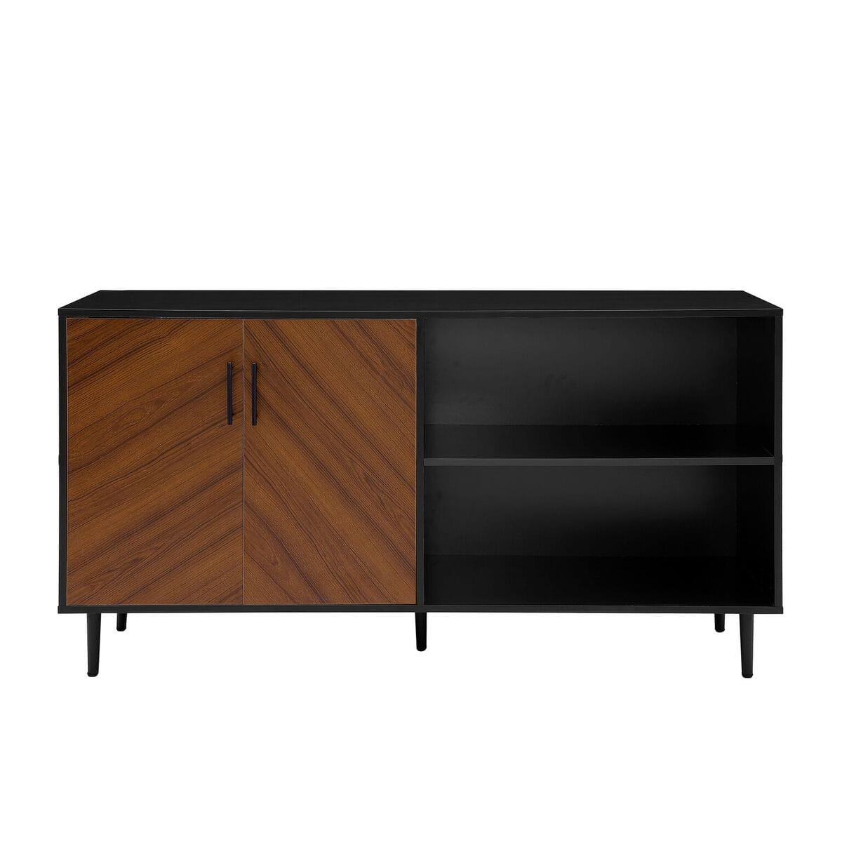 58 Inch Mid Century Modern Tv Stand Solid Black By Walker Edison