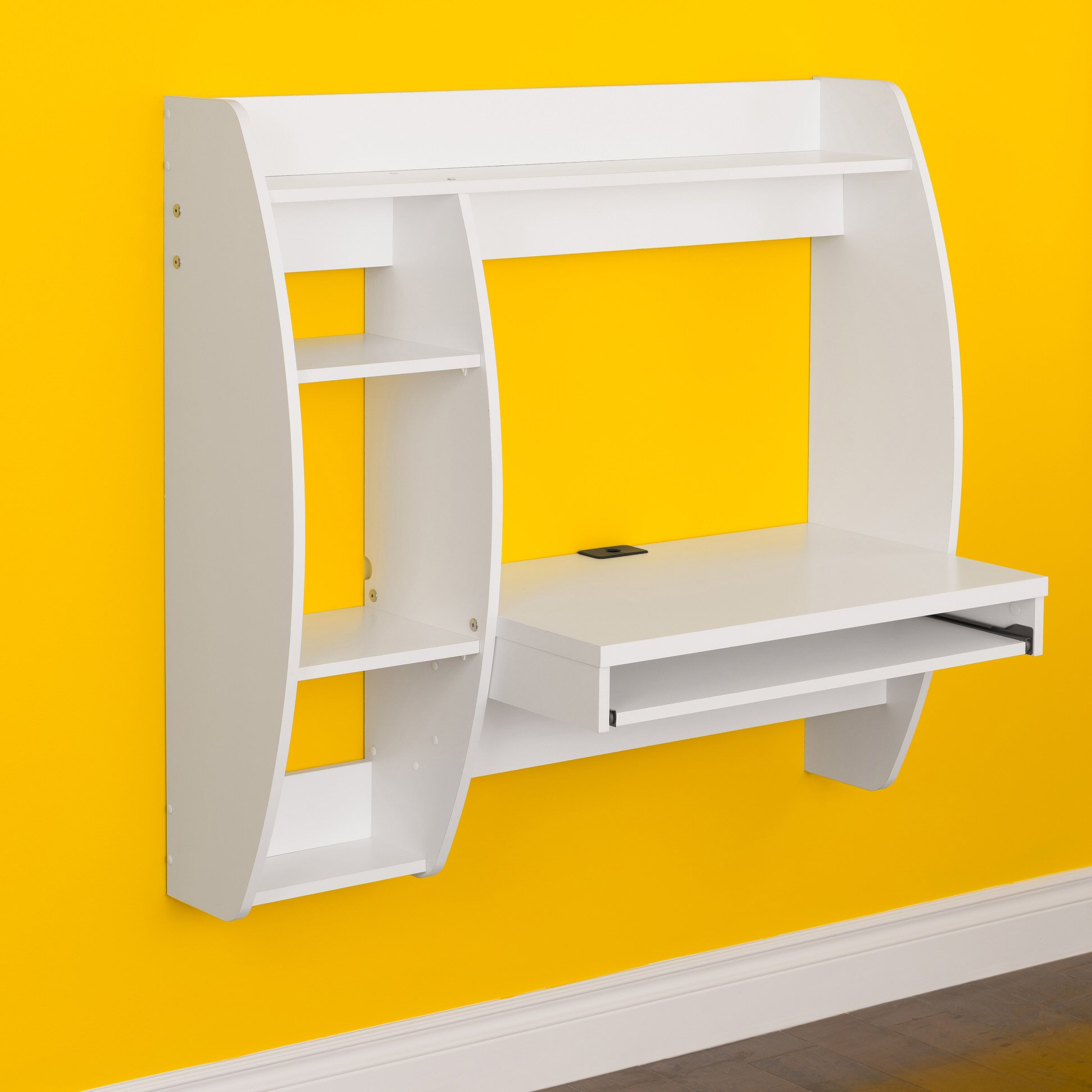 Floating Desk With Storage And Keyboard Tray By Prepac   White