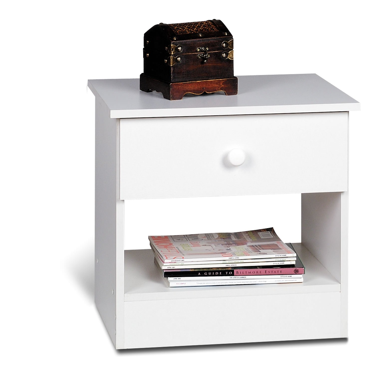 Edenvale 1 drawer nightstand by prepac for Cheap white night tables