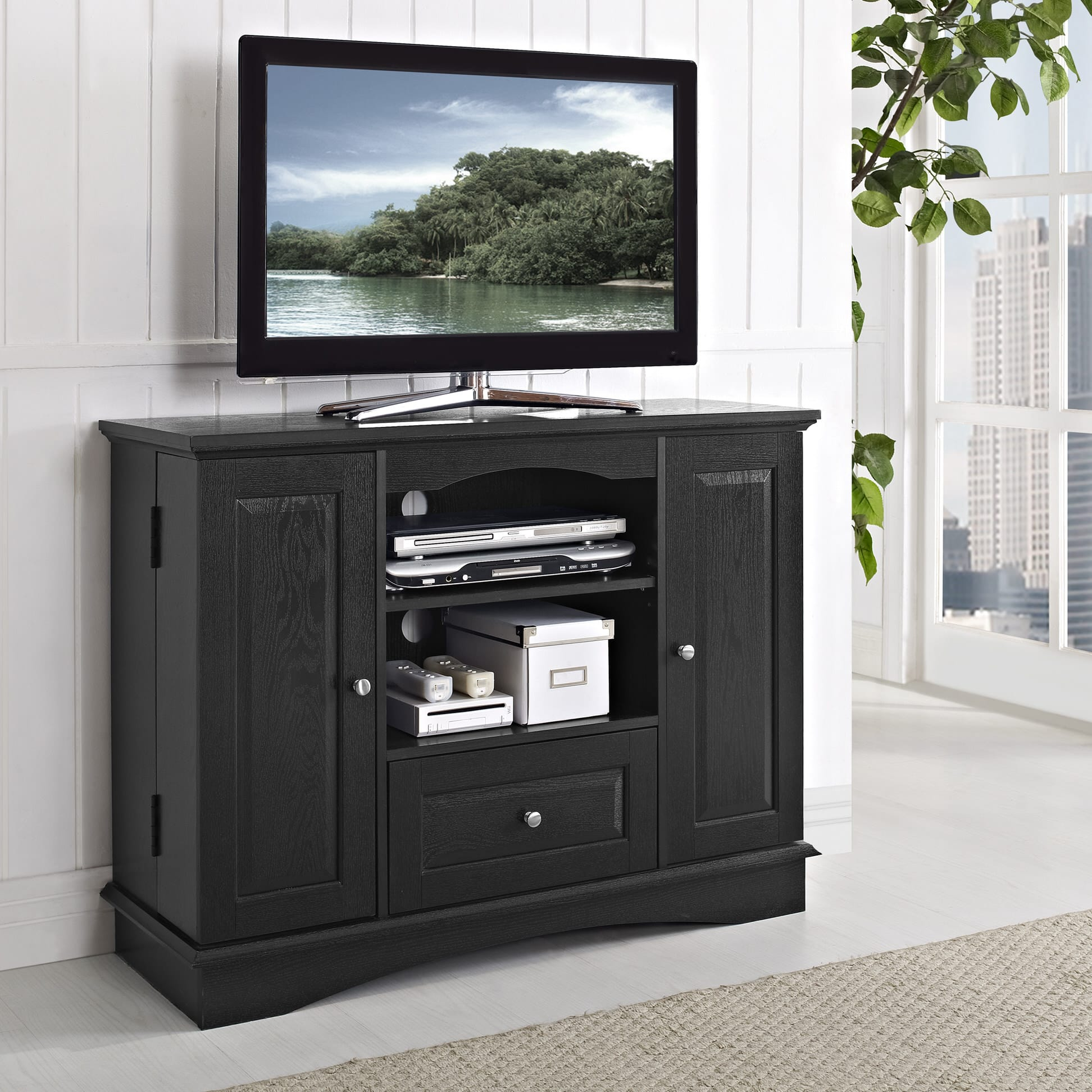 Highboy 42 Inch Tv Stand Black By Walker Edison