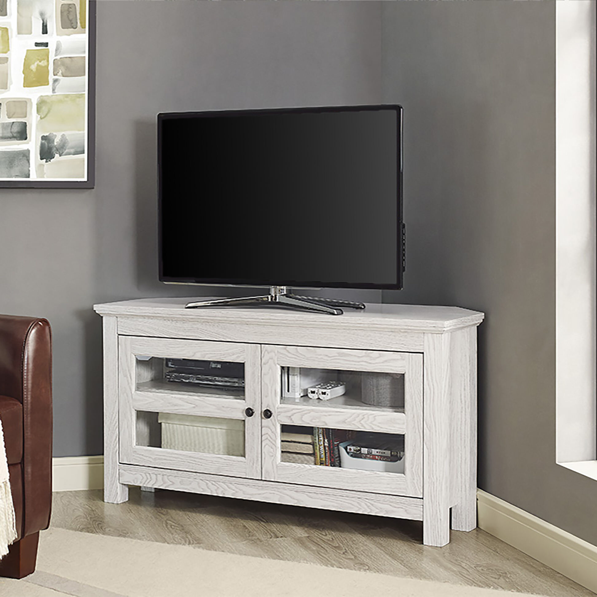 44 inch white wash wood tv stand by walker edison - Wood Corner Tv Stand