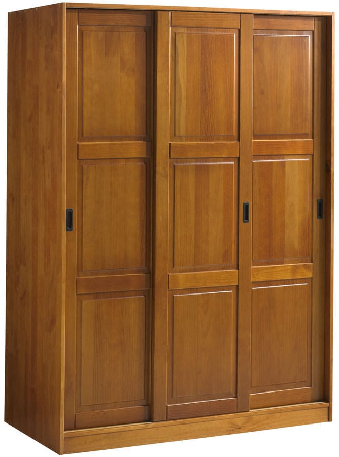 wardrobe 3 sliding doors honey pine by palace imports. Black Bedroom Furniture Sets. Home Design Ideas
