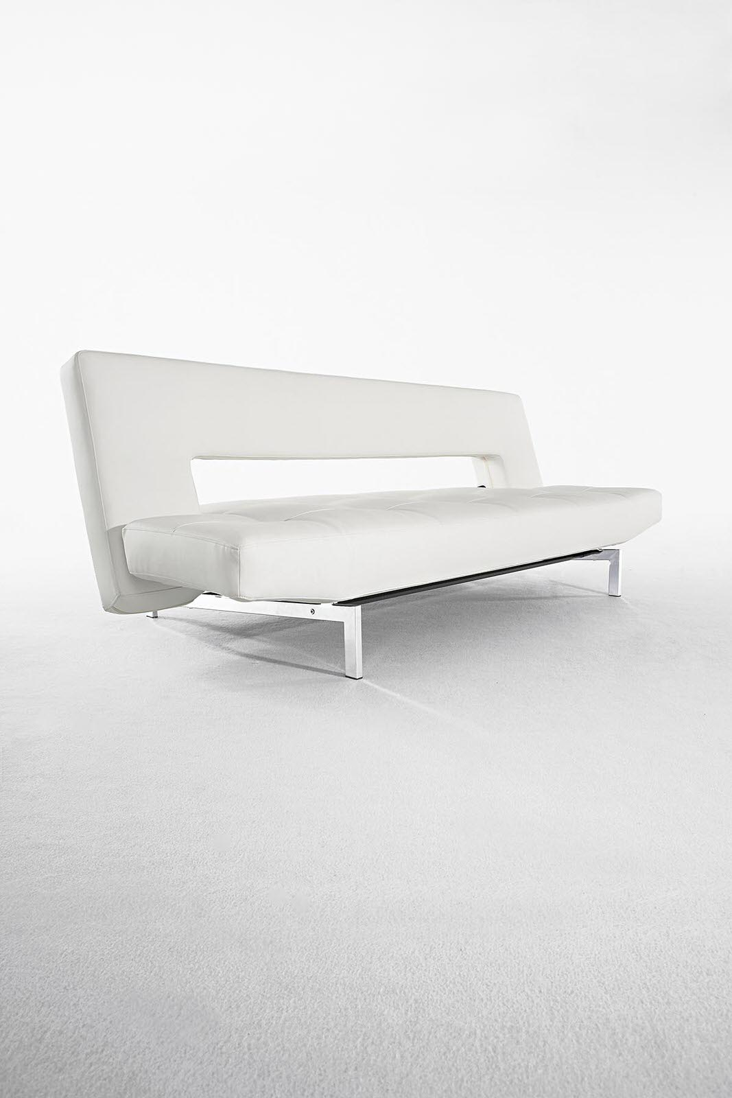 Wing Deluxe Sofa Bed White Leather Textile By Innovation