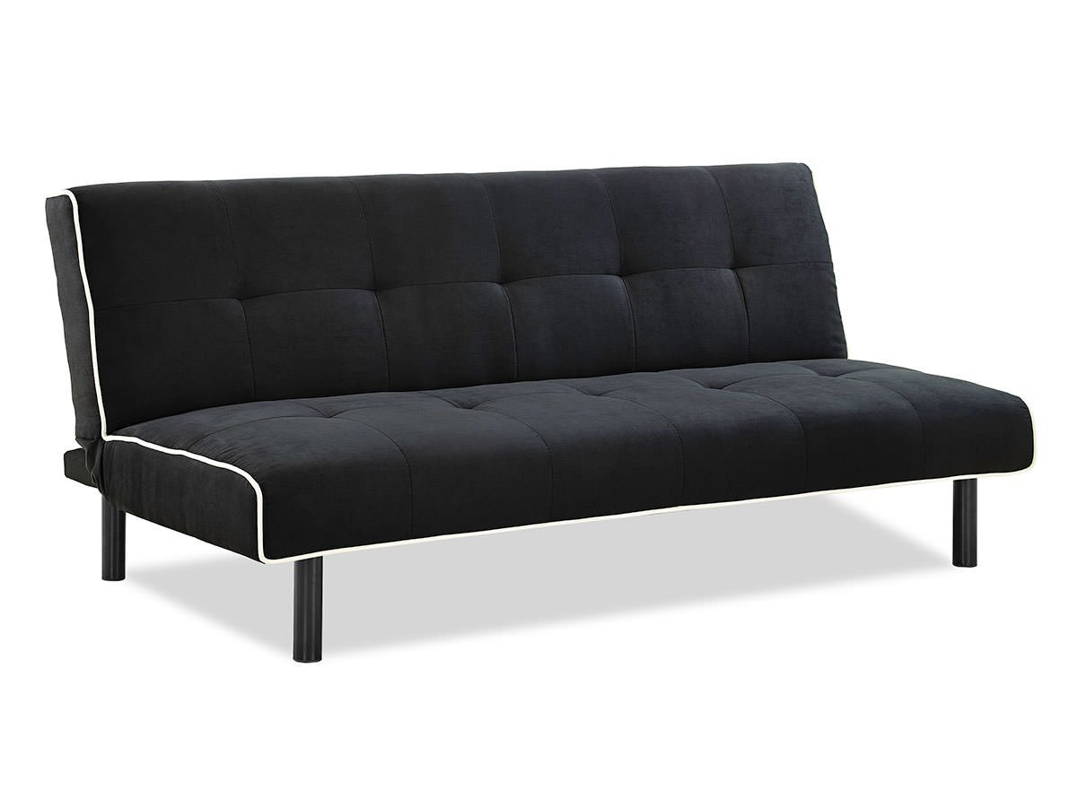 Xoom convertible sofa black w white piping by serta for Divan convertible