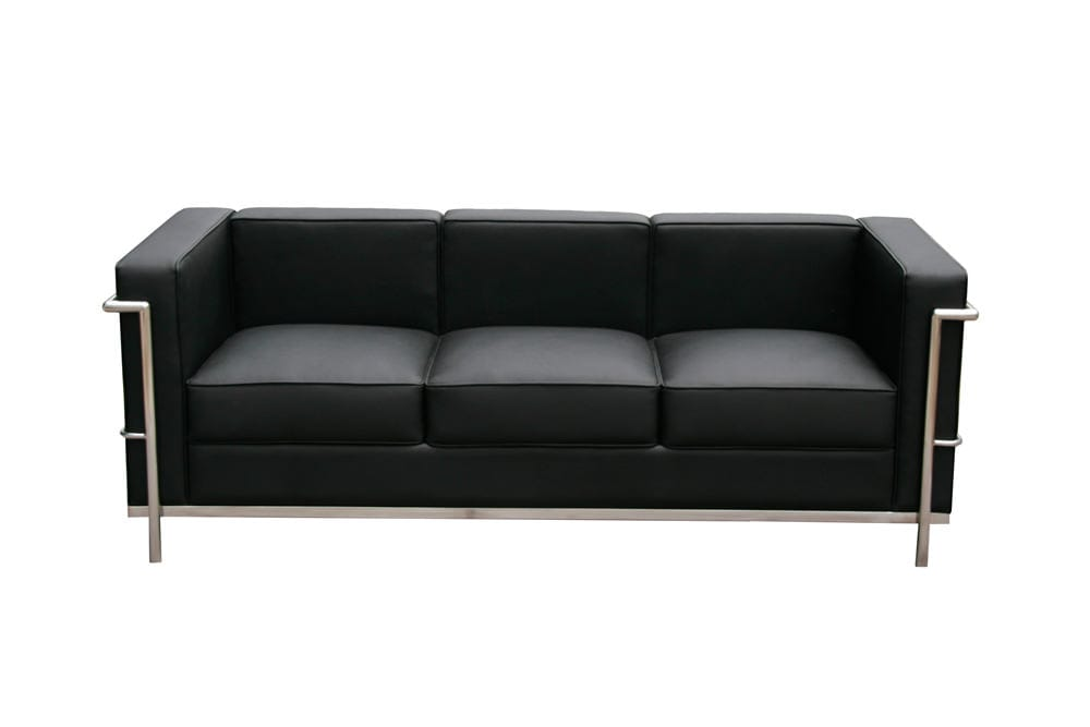 Cour Italian Leather Sofa Black by J&M Furniture