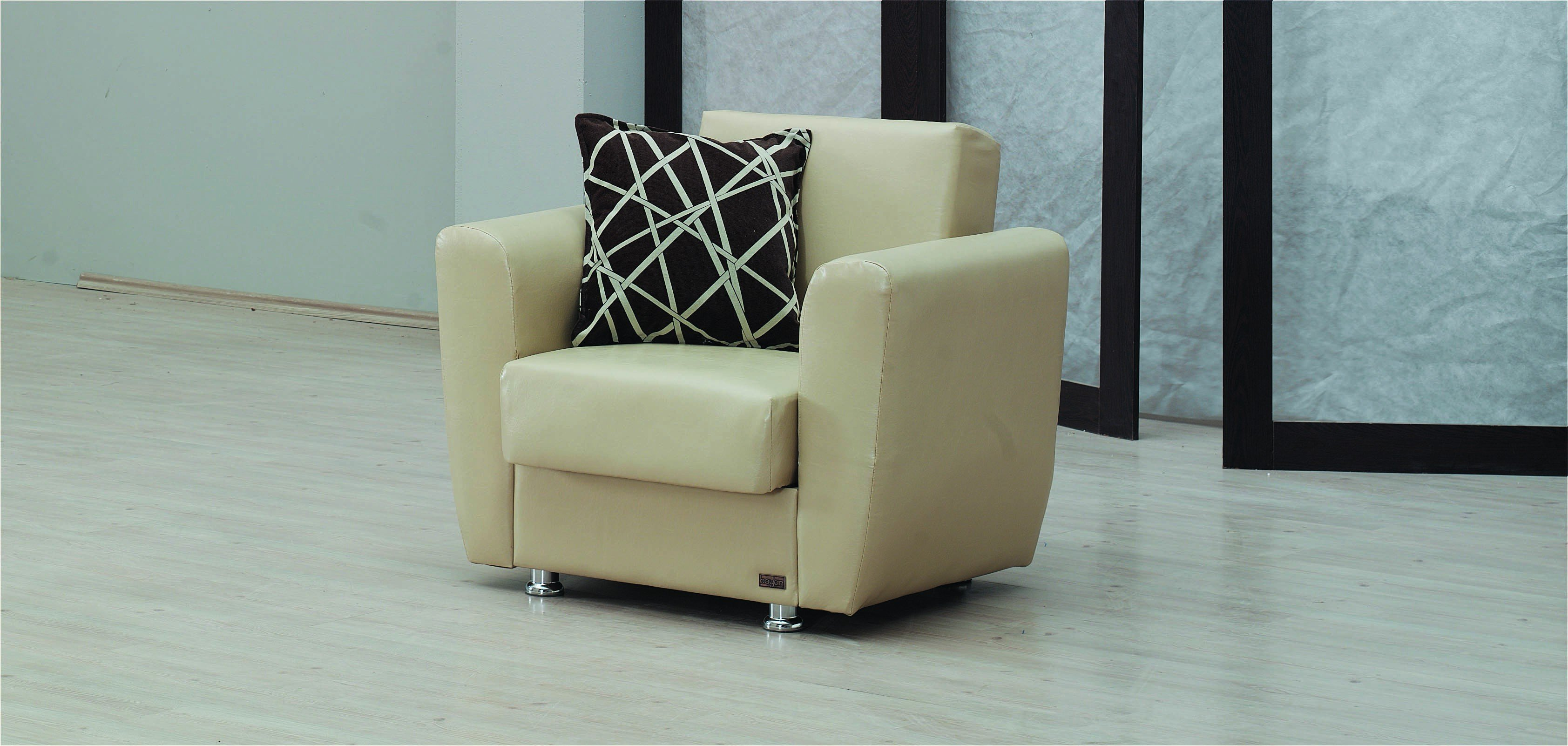 Yonkers cream leather chair by empire furniture usa for Furniture upholstery yonkers ny