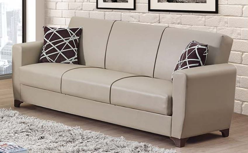 Yonkers cream leather sofa bed by empire furniture usa for Furniture upholstery yonkers ny
