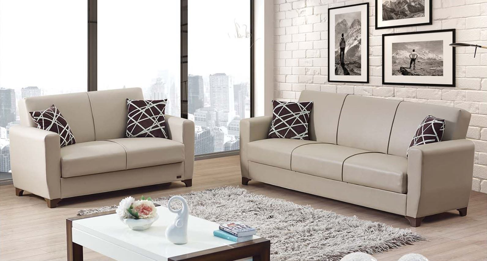 yonkers cream leather sofa bed by empire furniture usa. Black Bedroom Furniture Sets. Home Design Ideas