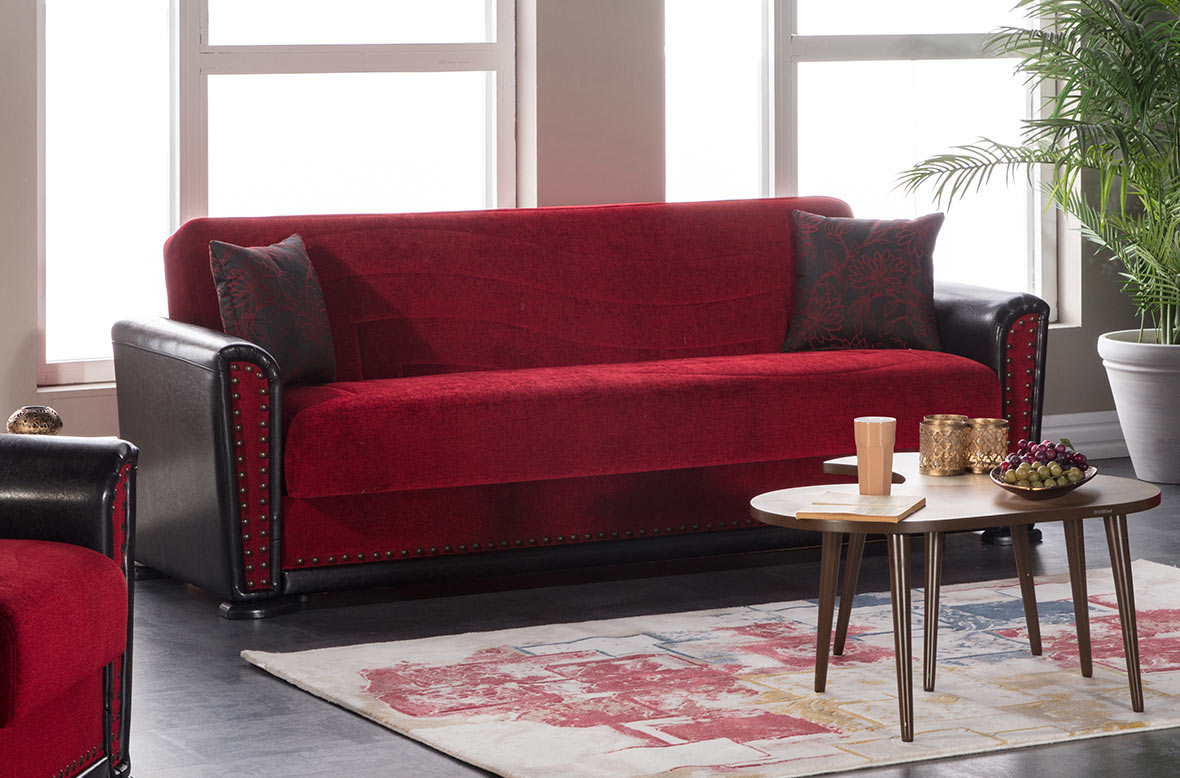 Alfa Jennefer Red Convertible Sofa Bed by Istikbal Furniture
