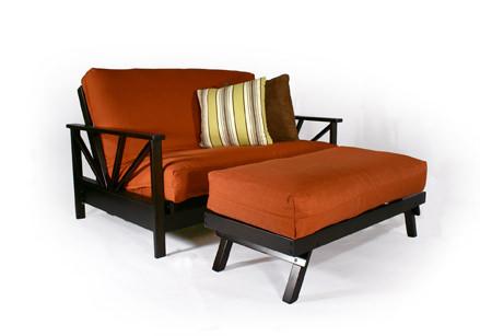 Arial Black Walnut Loveseat Wall Hugger Futon Frame By Strata Furniture