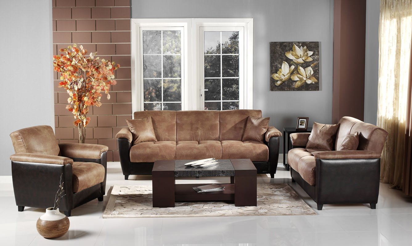 Aspen mocha vinyl convertible sofa bed